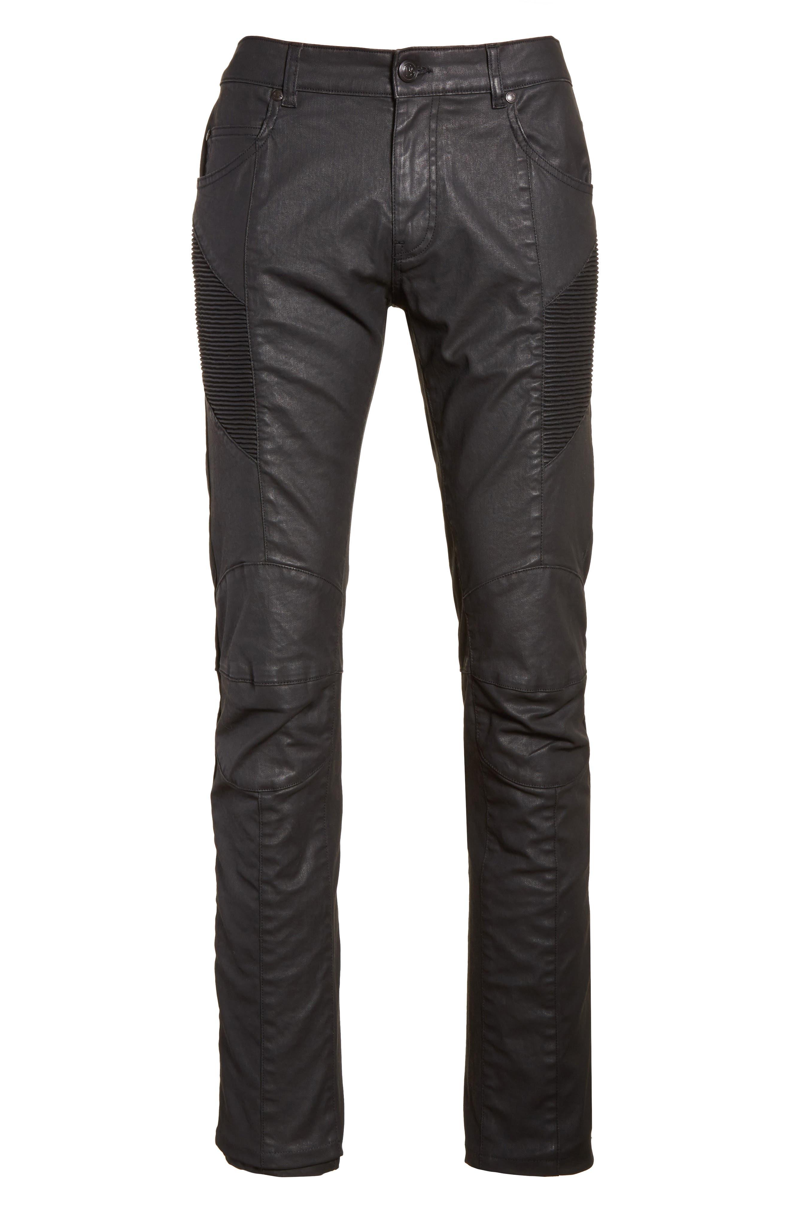 Alternate Image 6  - Pierre Balmain Core Coated Moto Jeans
