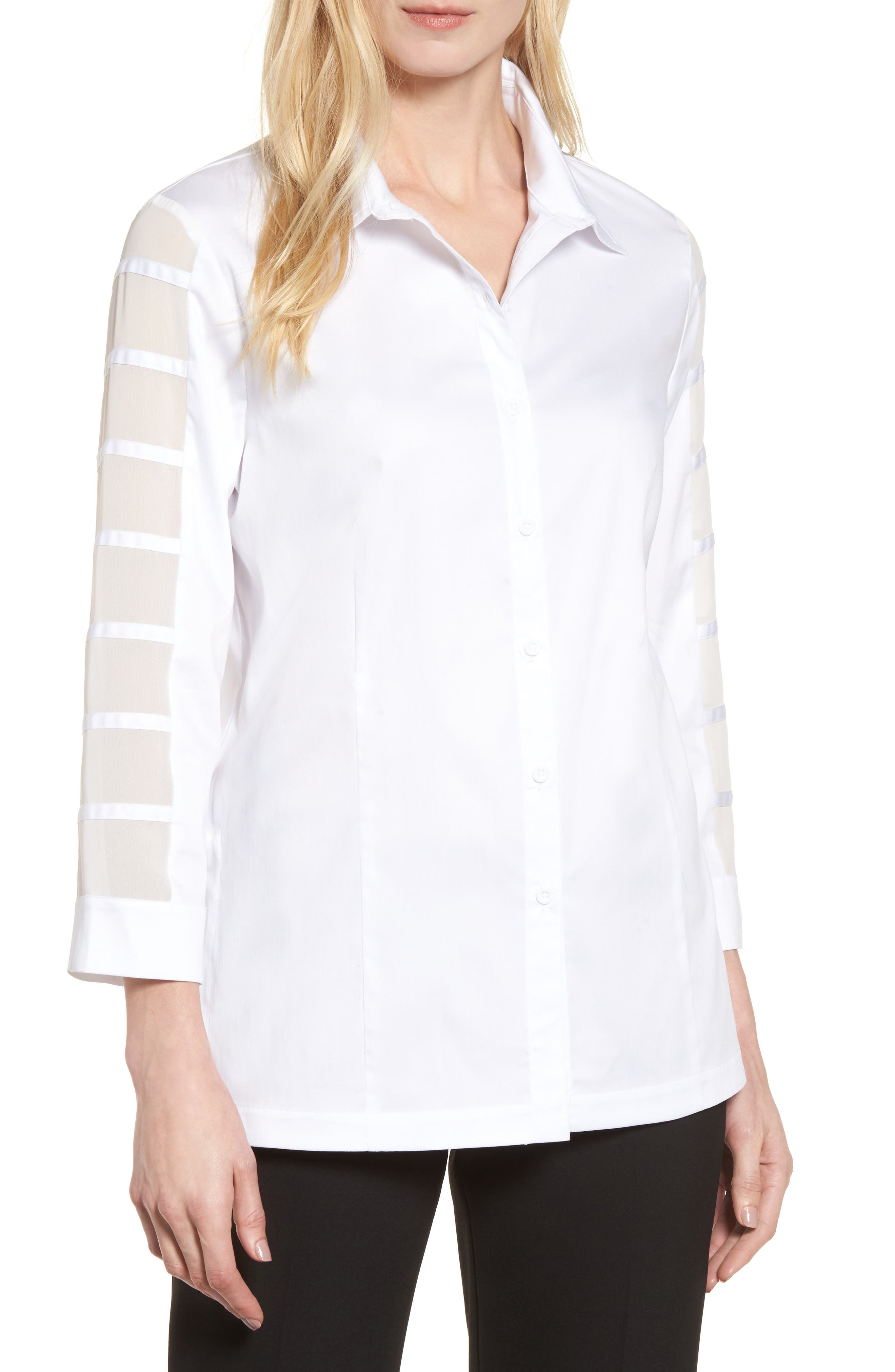 Tiered Sleeve Shirt,                         Main,                         color, White