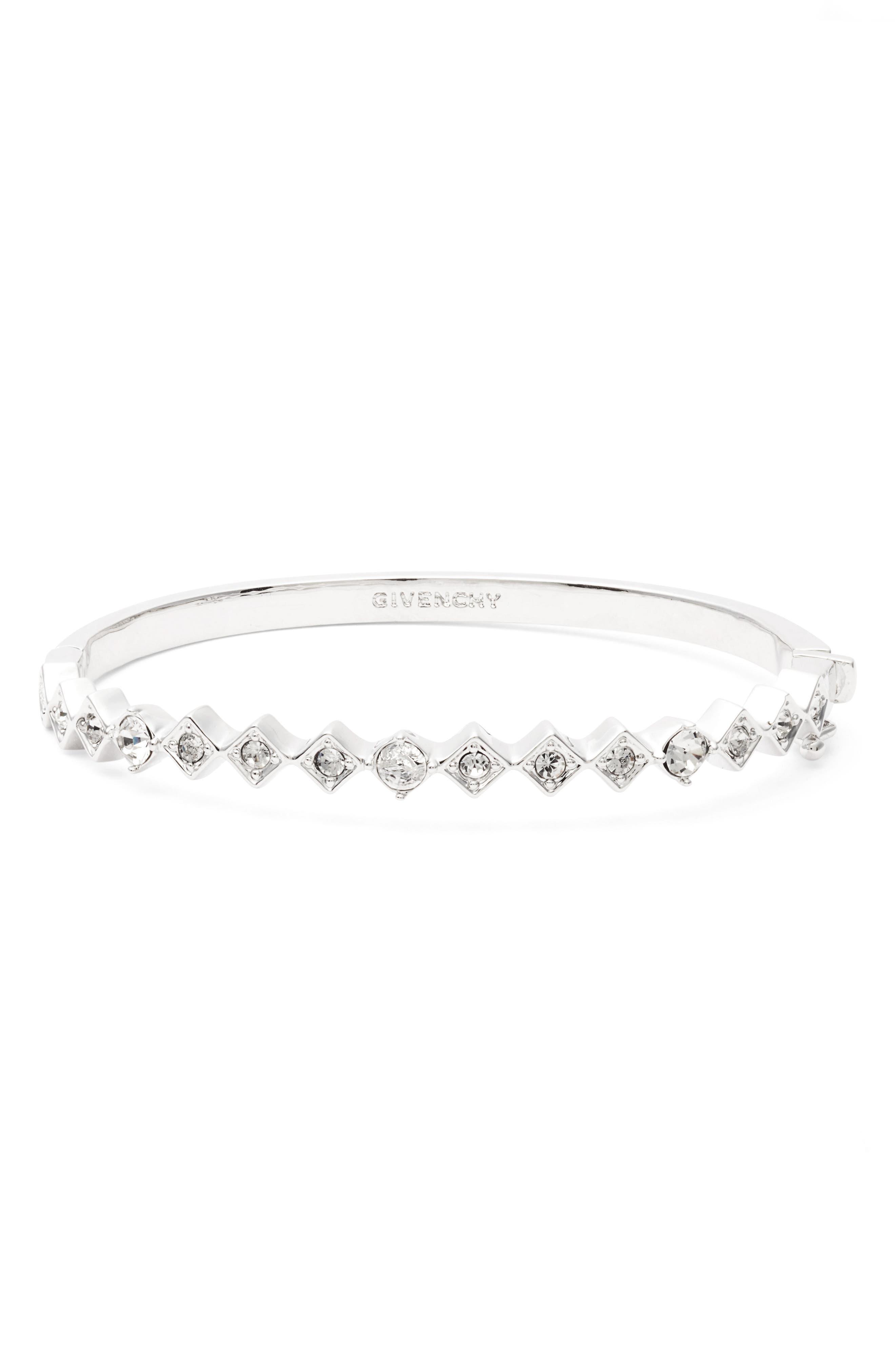 Savannah Crystal Bangle,                         Main,                         color, Clear / Silver