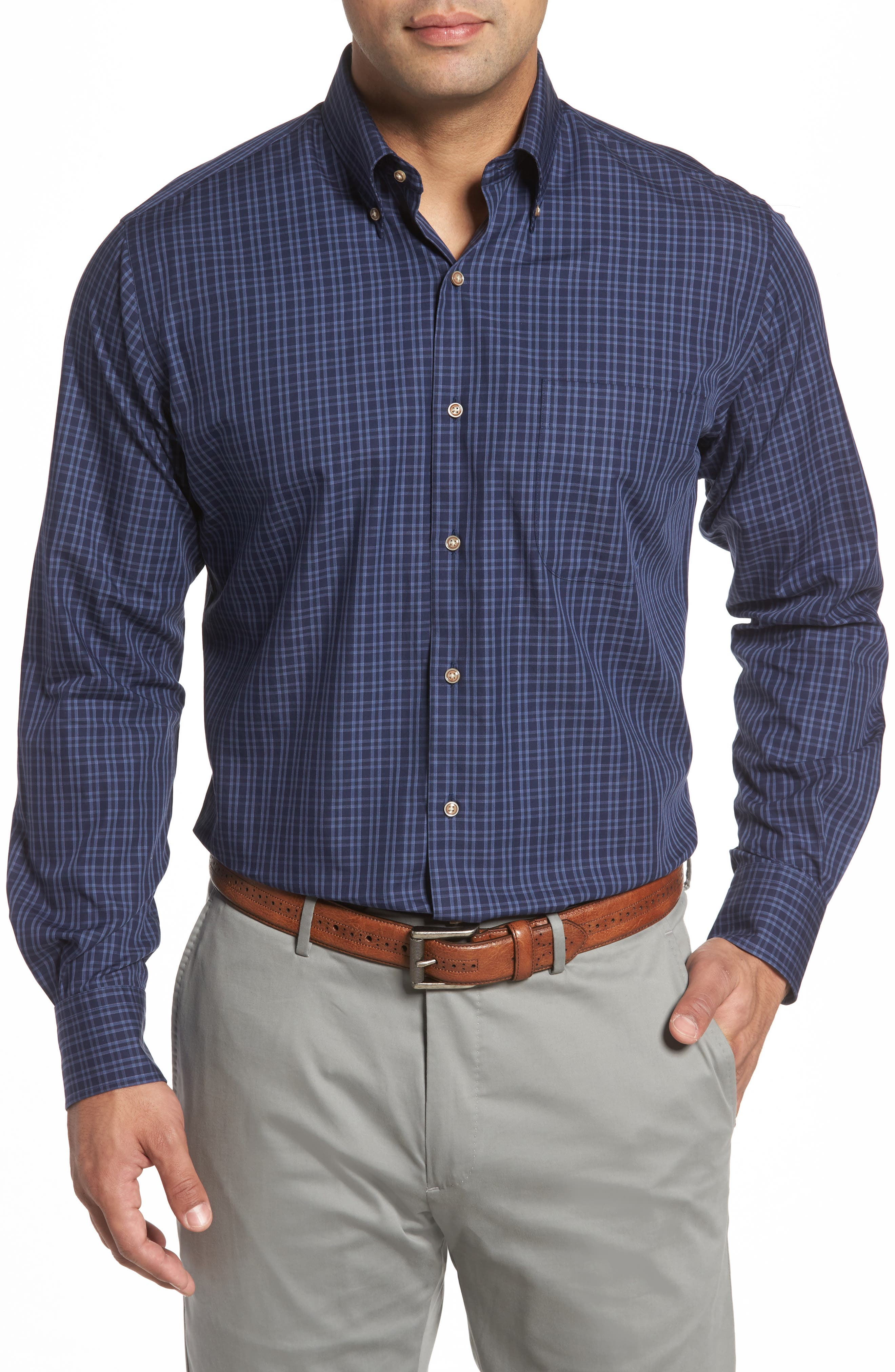 Autumn Check Regular Fit Sport Shirt,                         Main,                         color, Seaboard Navy