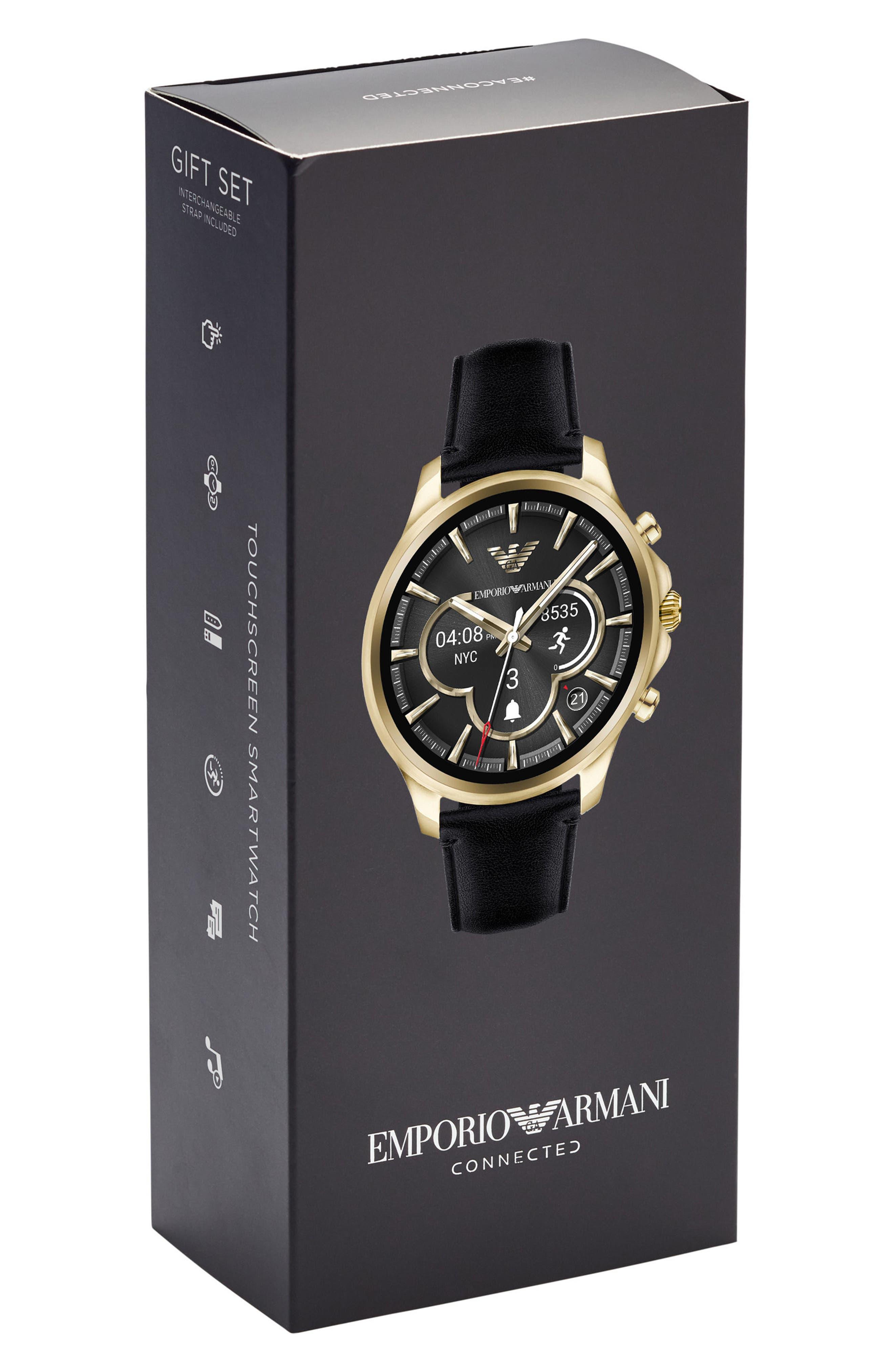 Touchscreen Leather Strap Smartwatch, 46mm,                             Alternate thumbnail 5, color,                             Black/ Black