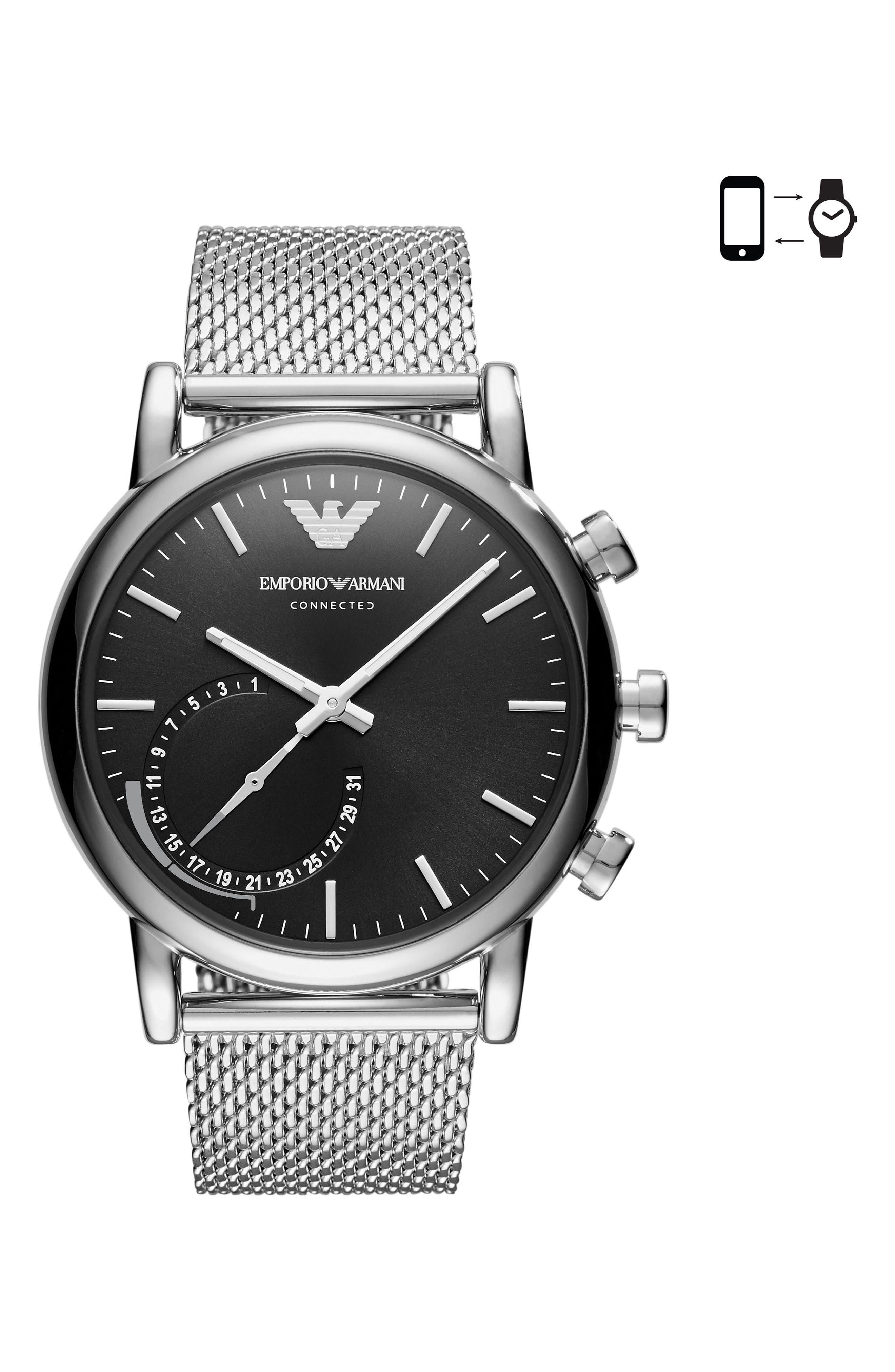 Mesh Bracelet Hybrid Smart Watch, 43mm,                         Main,                         color, Black/ Silver