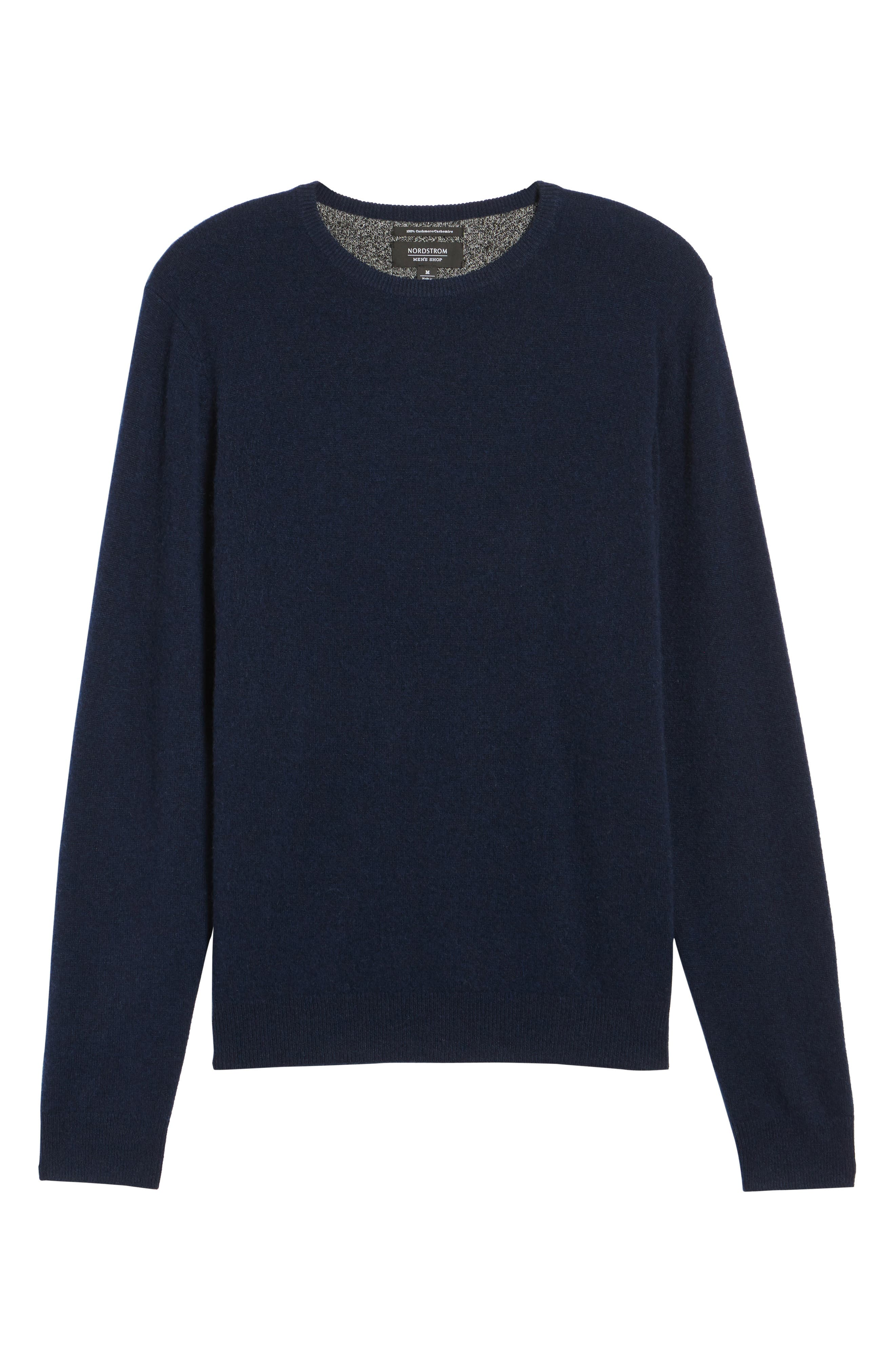 Cashmere Crewneck Sweater,                             Alternate thumbnail 6, color,                             Navy Charcoal