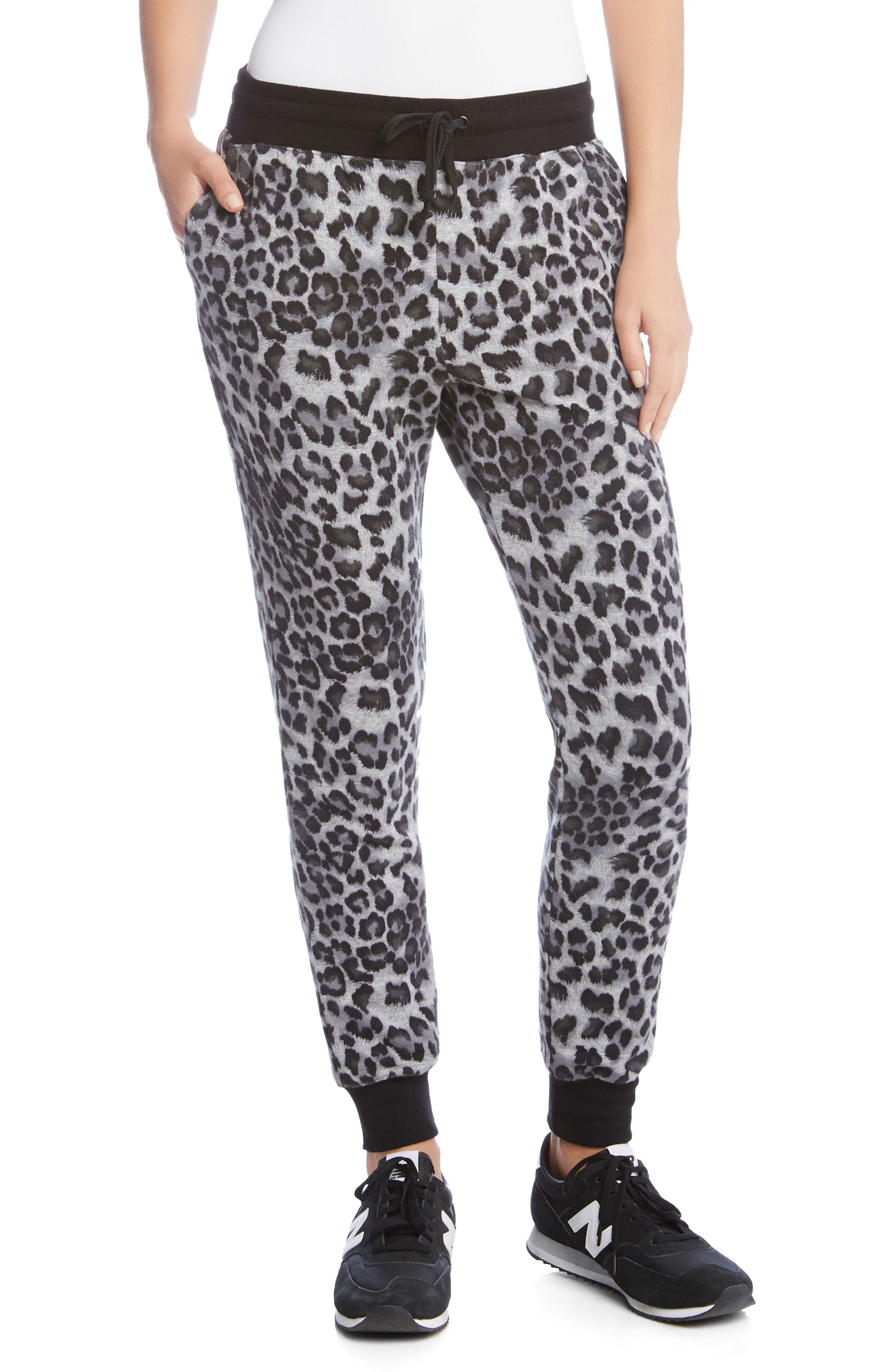 Leopard Print Fleece Sweatpants,                         Main,                         color, Print