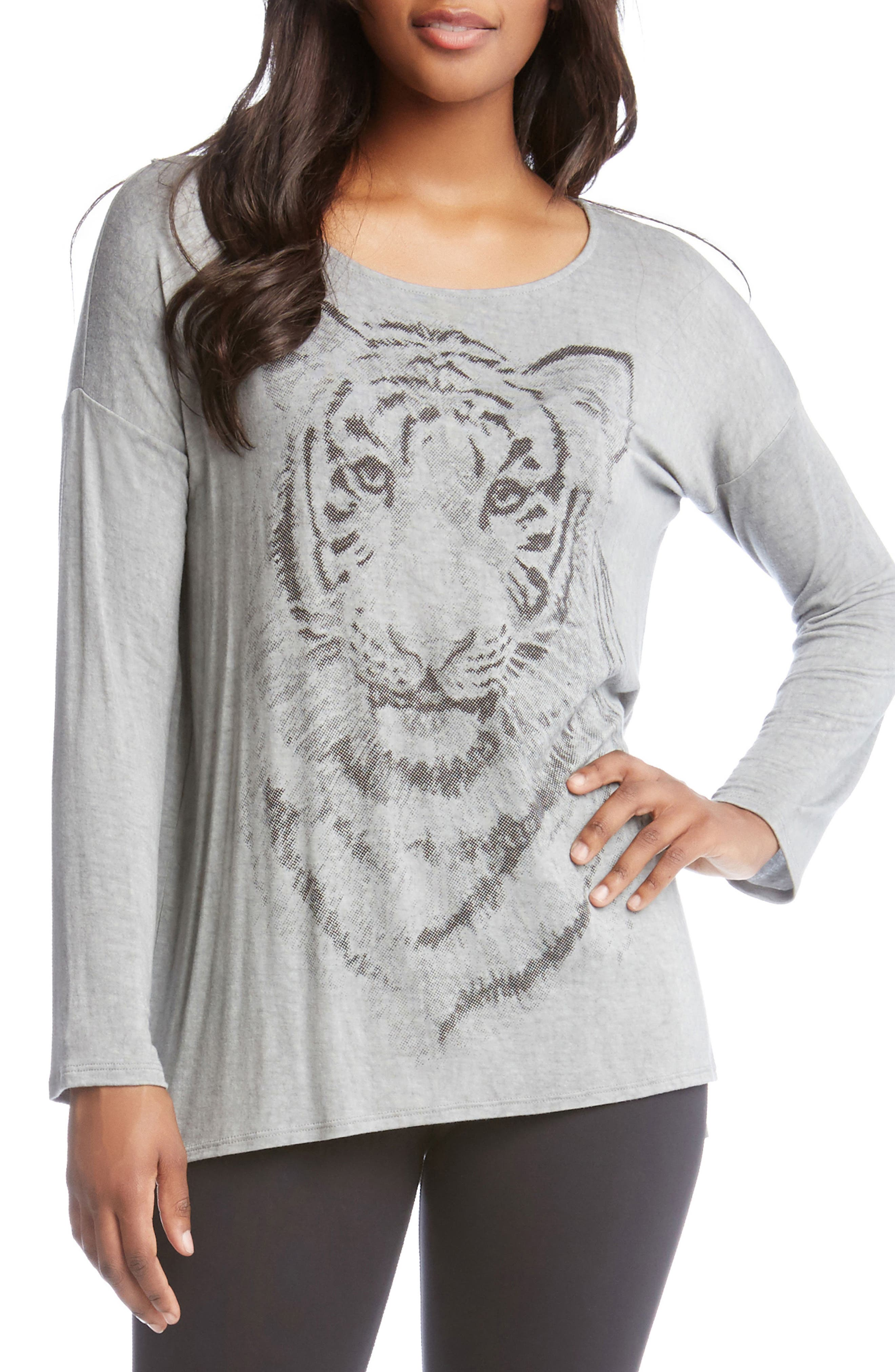 Tiger Print Long Sleeve Tee,                         Main,                         color, Grey
