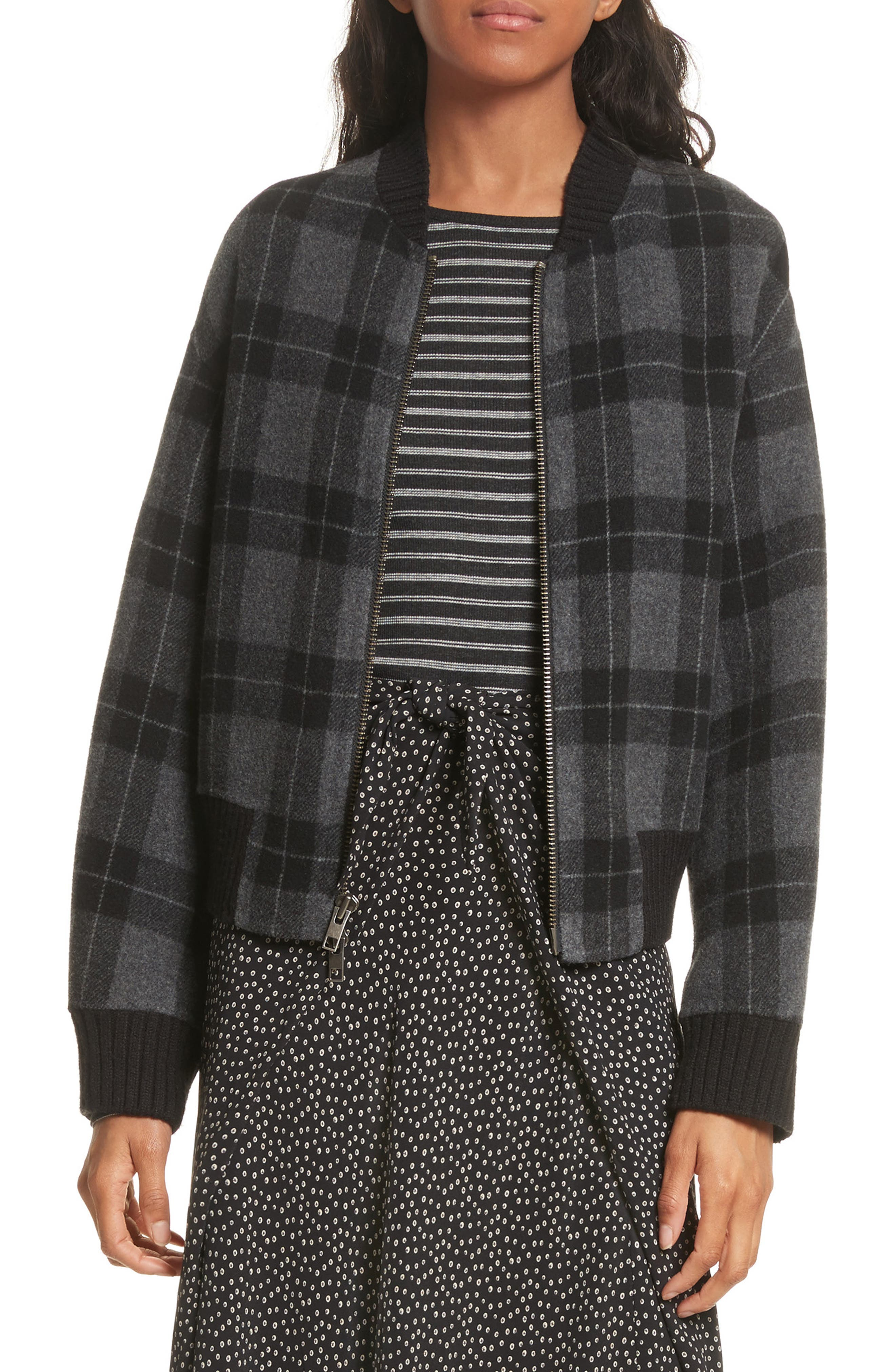 Vince Plaid Bomber Jacket