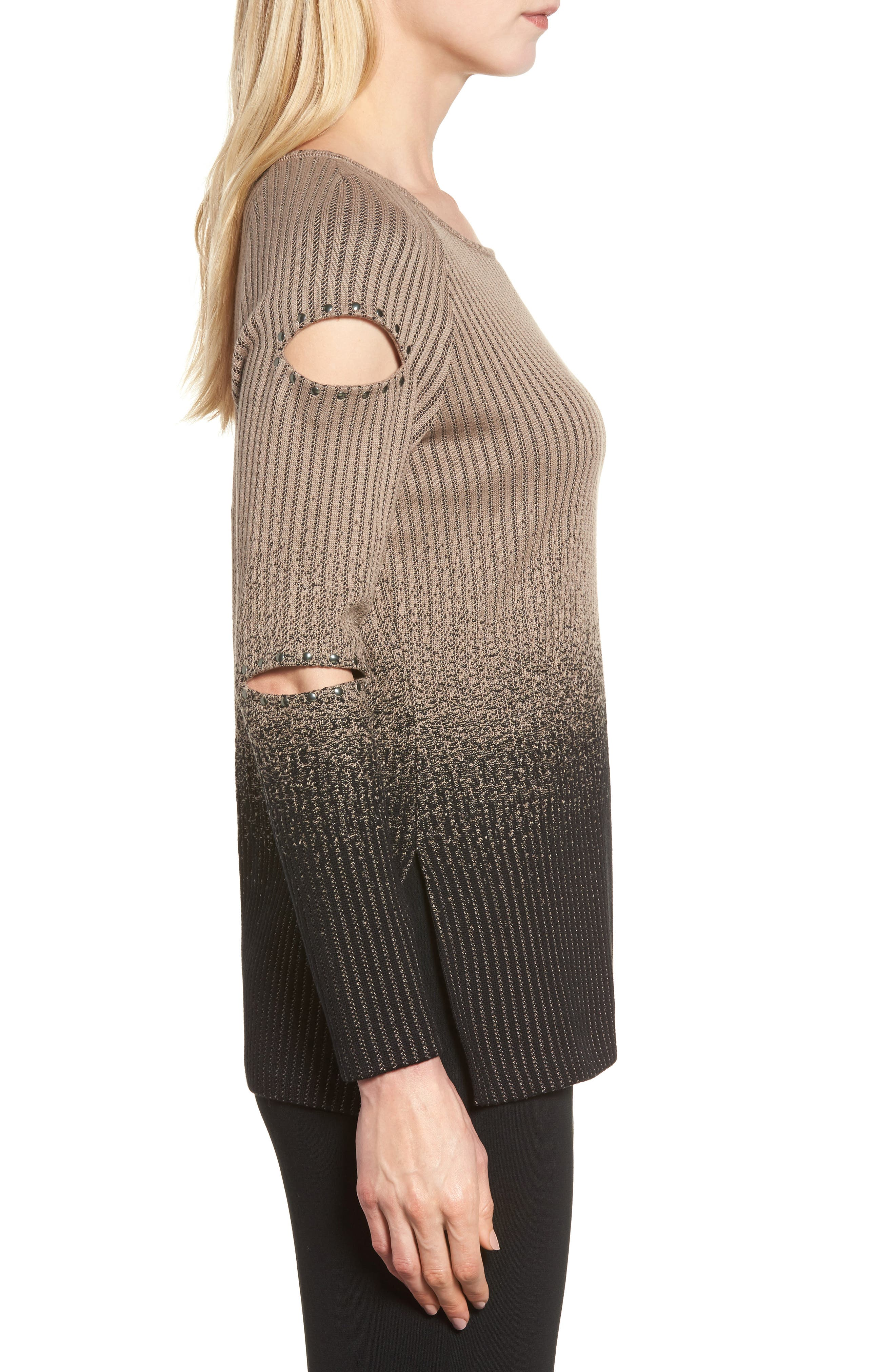 Alternate Image 3  - Ming Wang Cutout Sleeve Ribbed Sweater