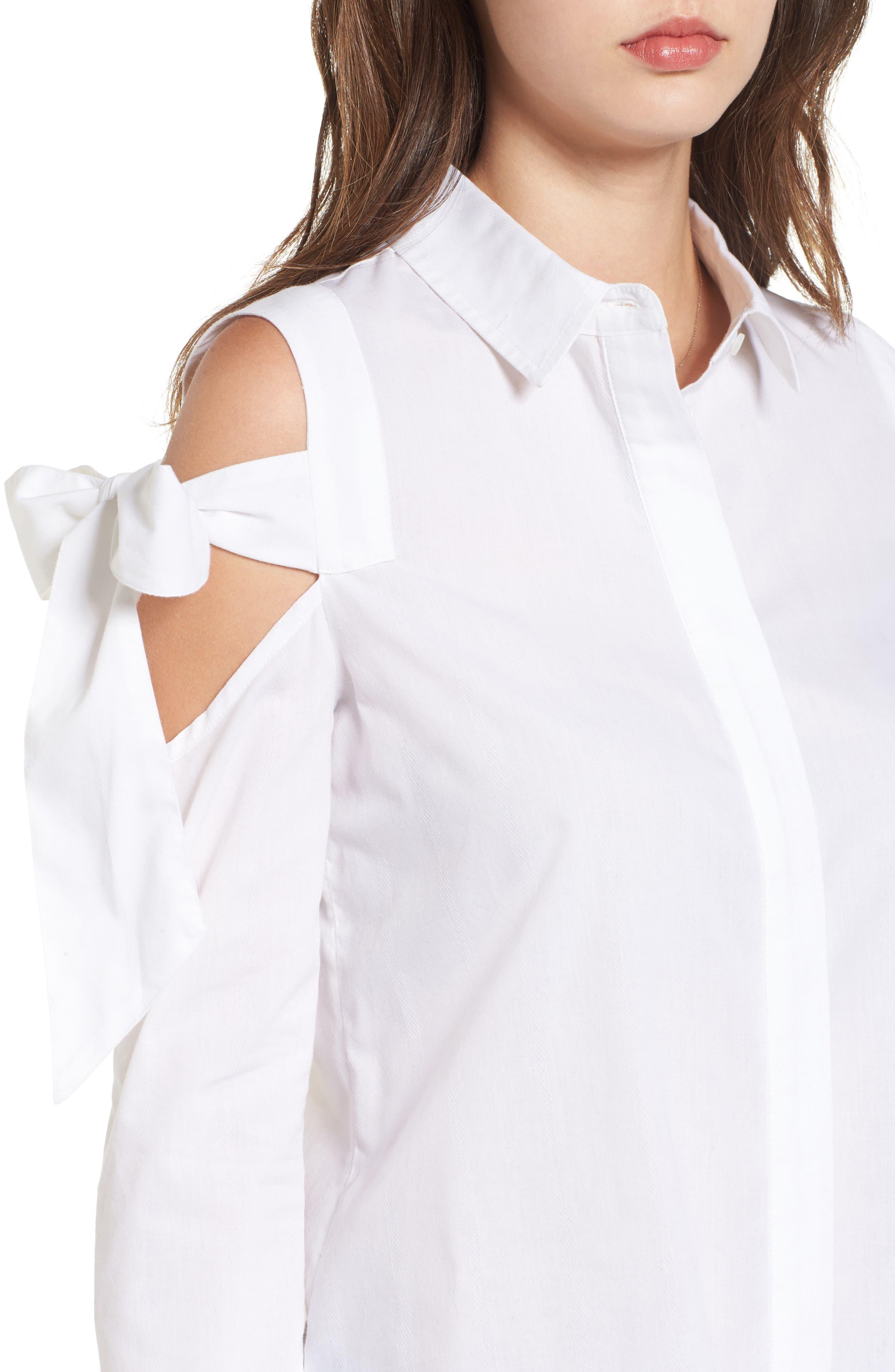 Bow Sleeve Cold Shoulder Shirt,                             Alternate thumbnail 4, color,                             White