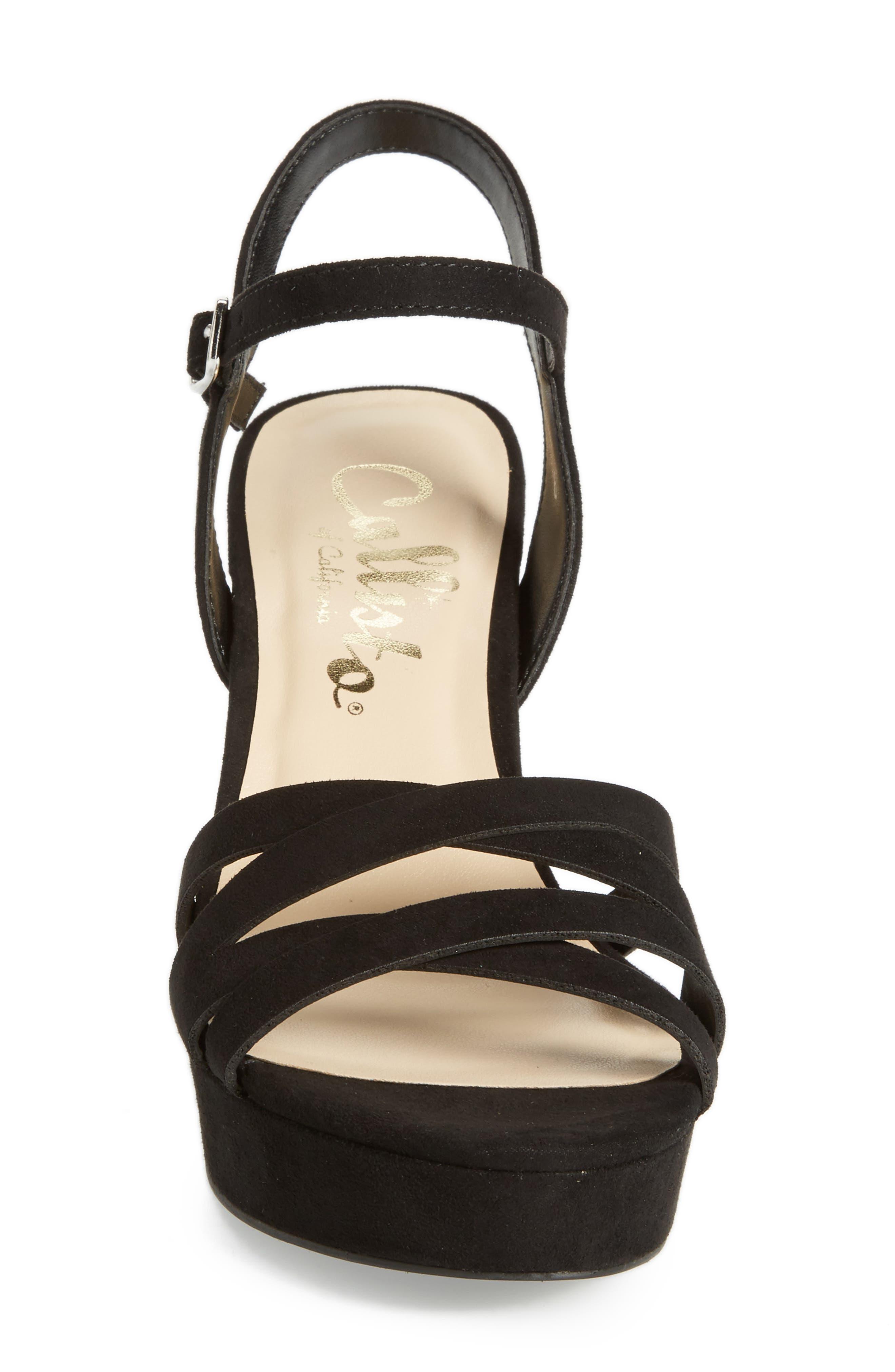 Paxx Platform Sandal,                             Alternate thumbnail 4, color,                             Black Faux Suede