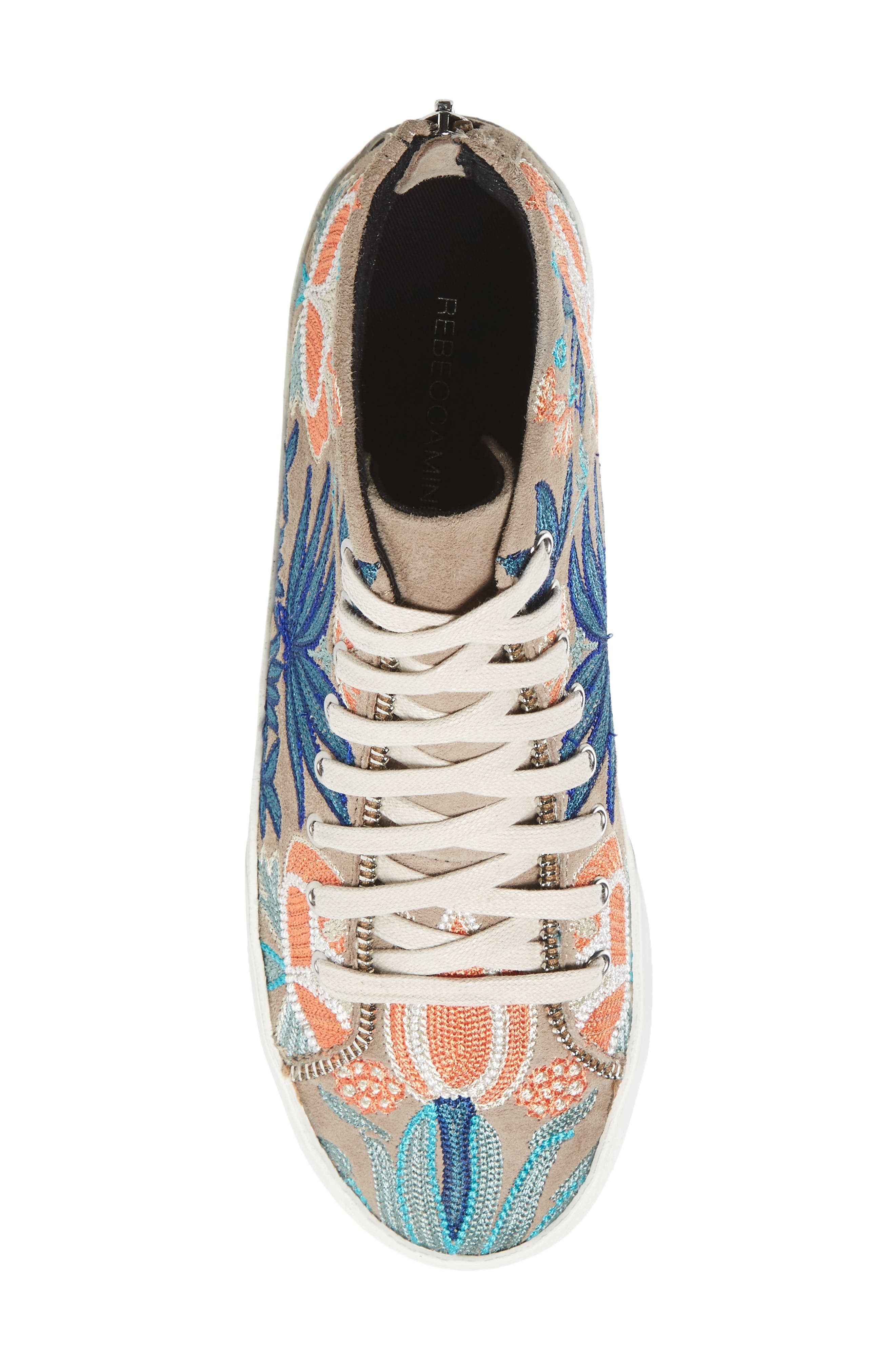 Zaina Embroidered Sneaker,                             Alternate thumbnail 5, color,                             Sand