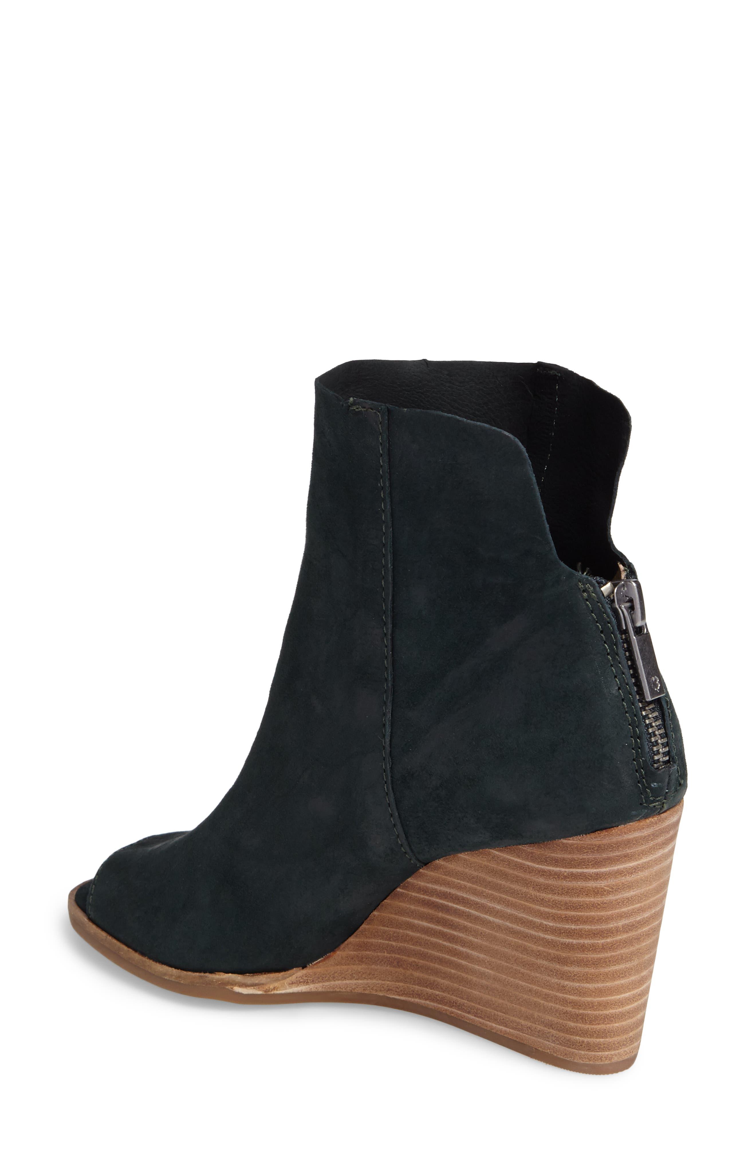 Urbi Peep Toe Bootie,                             Alternate thumbnail 2, color,                             Dark Cyan Leather