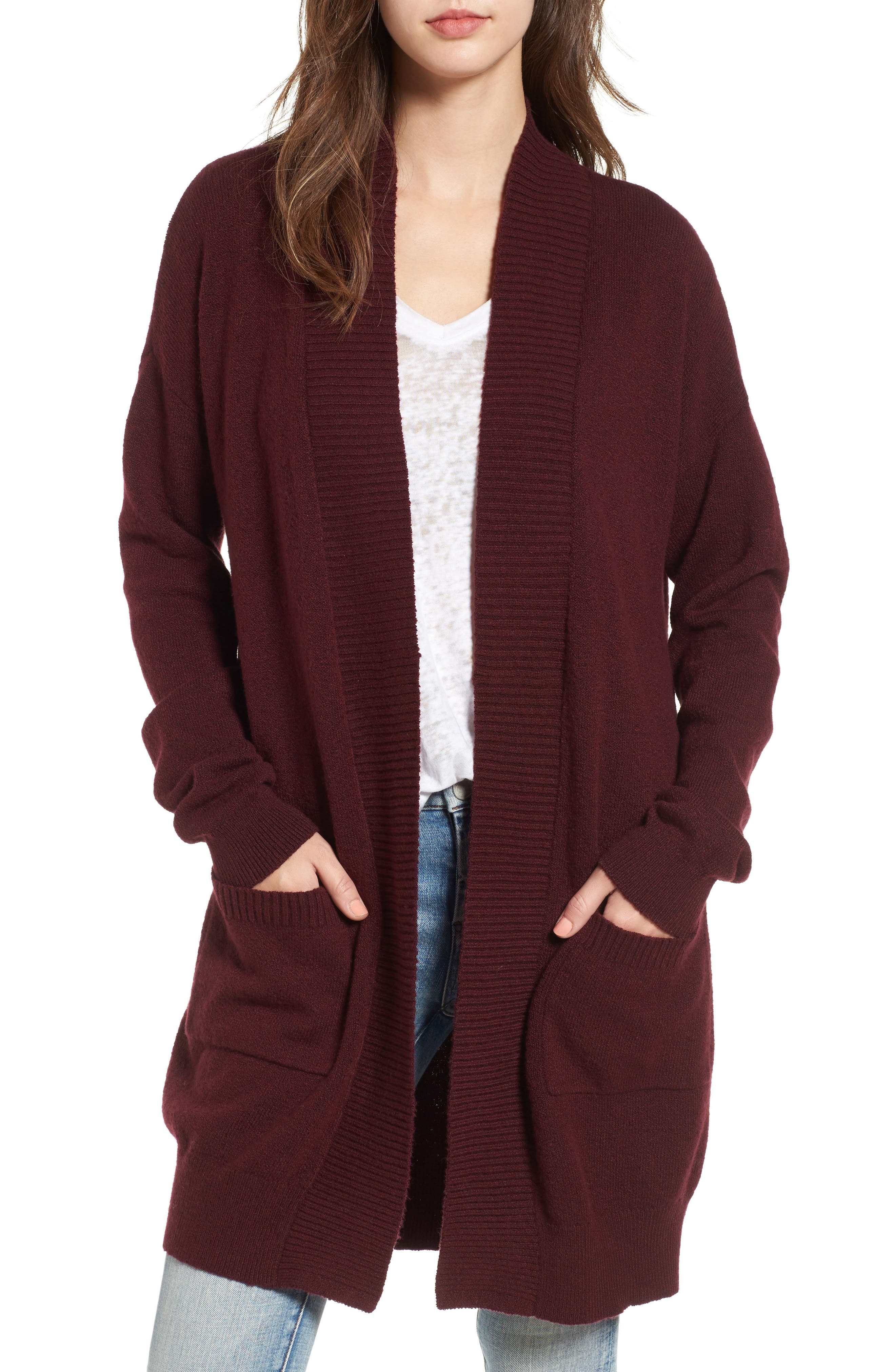 BP. Rib Trim Long Cardigan