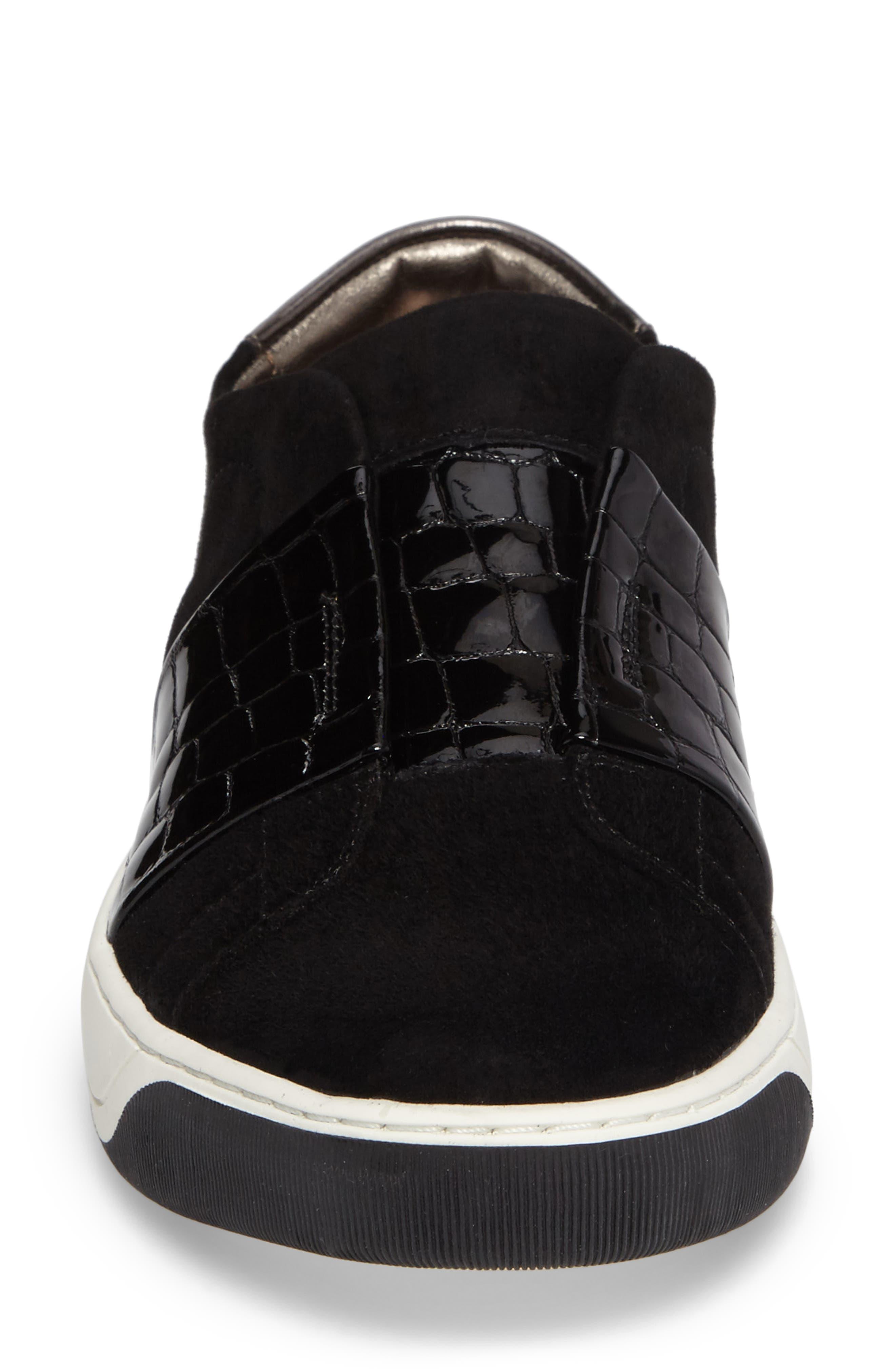 Eden Slip-On Sneaker,                             Alternate thumbnail 4, color,                             Black Suede