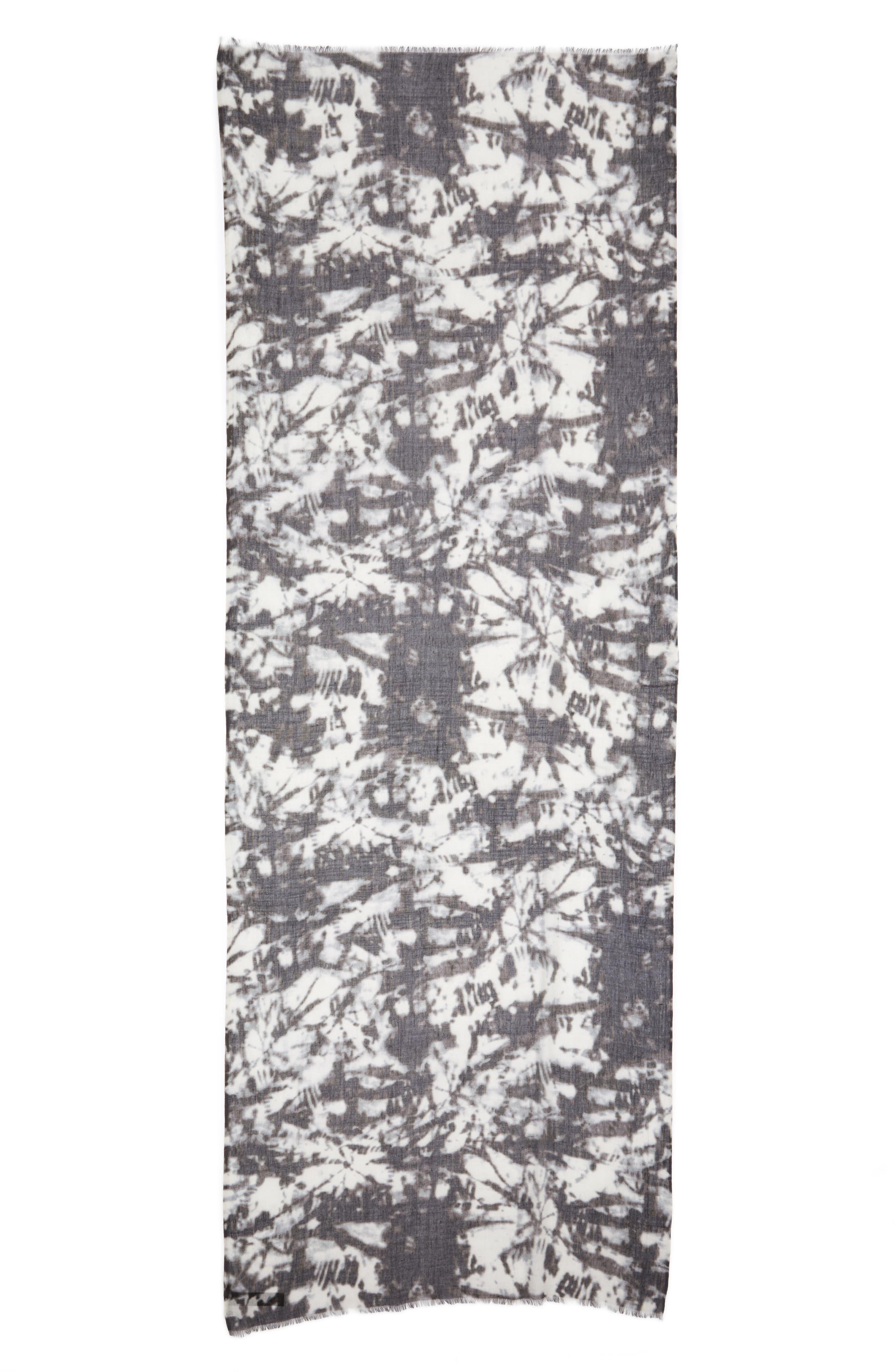 Print Silk & Wool Scarf,                             Alternate thumbnail 2, color,                             Black