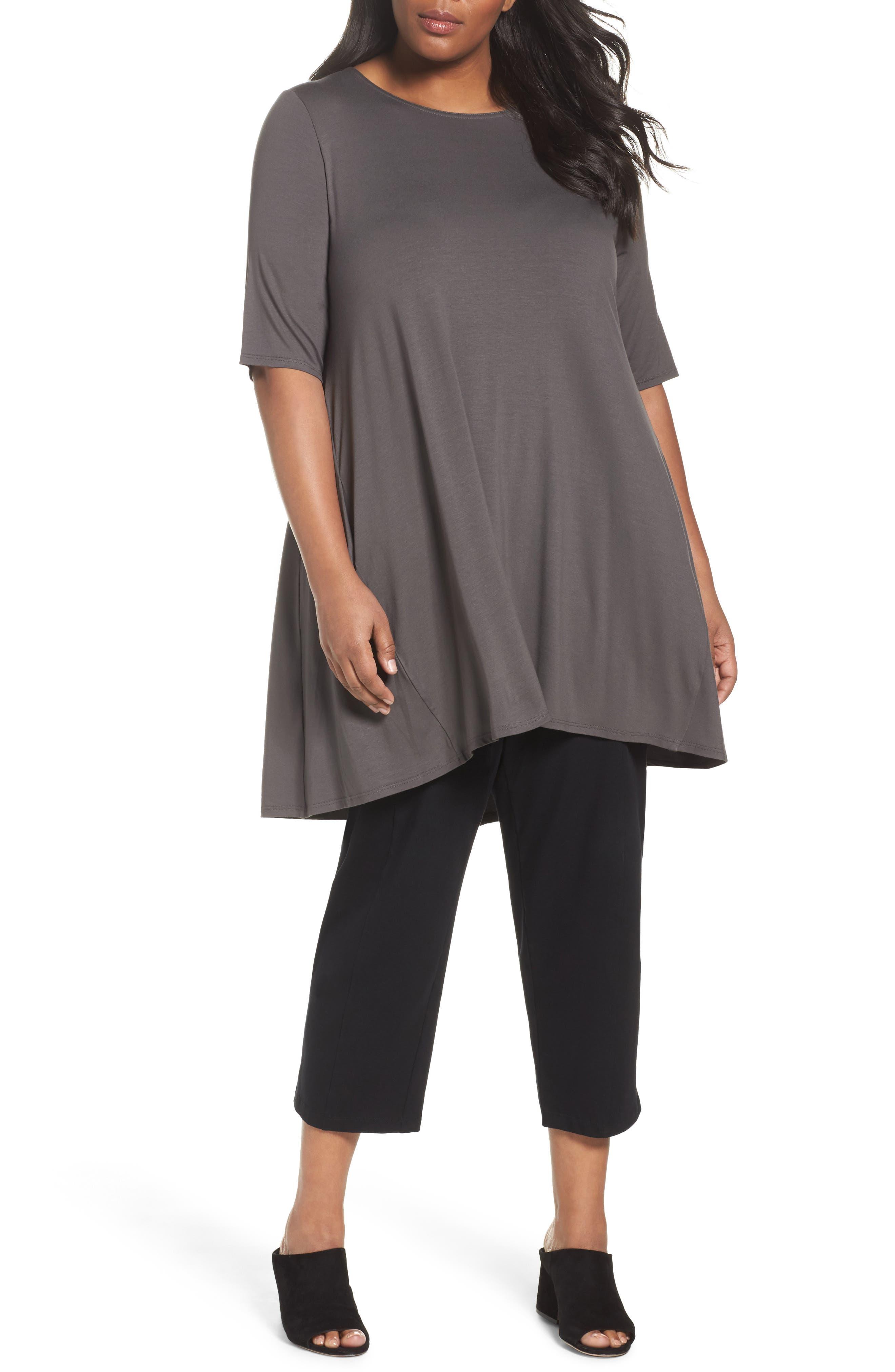 Main Image - Eileen Fisher Jersey Tunic (Plus Size)