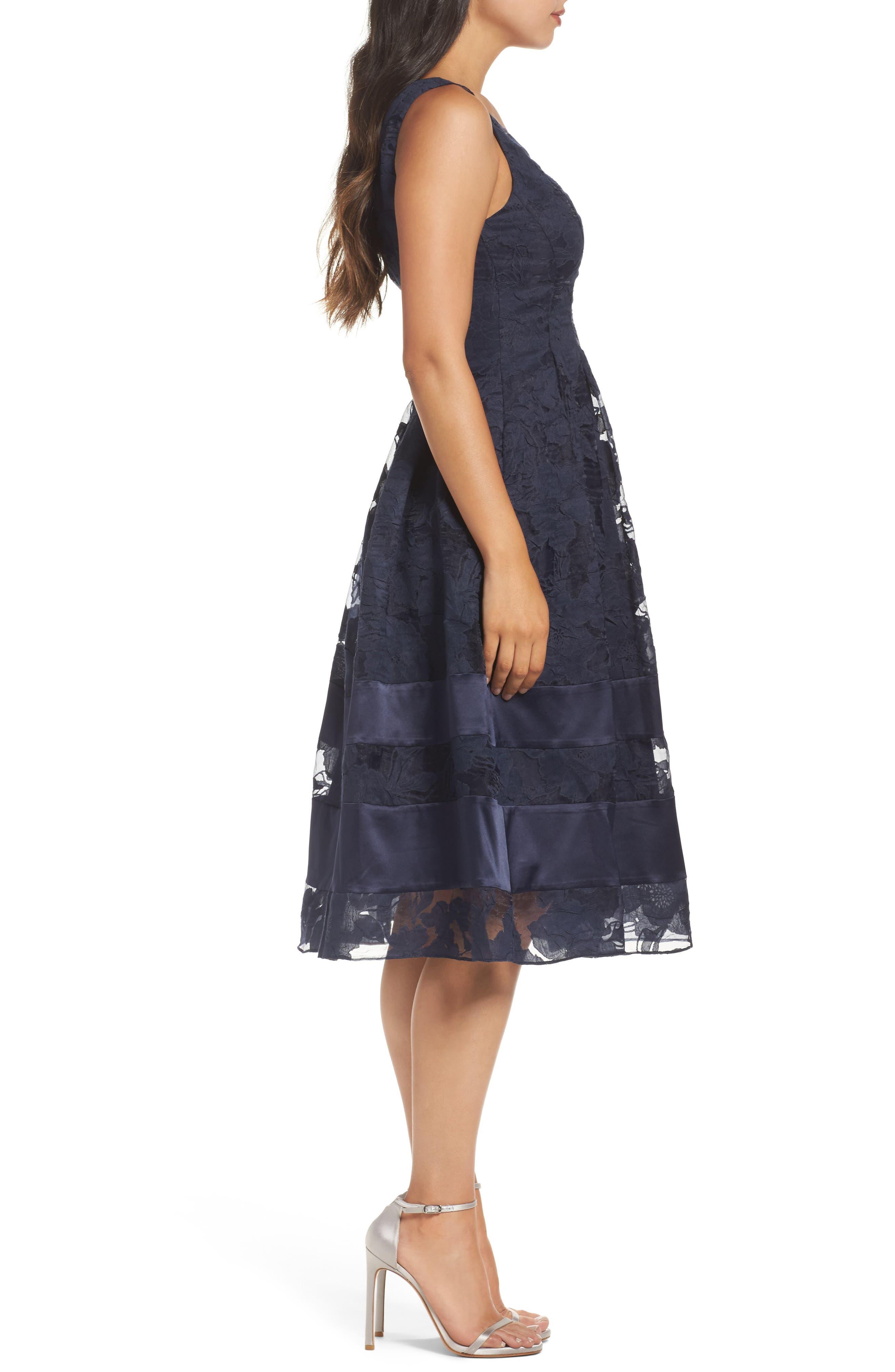 Lace Fit & Flare Dress,                             Alternate thumbnail 4, color,                             Navy/ Black