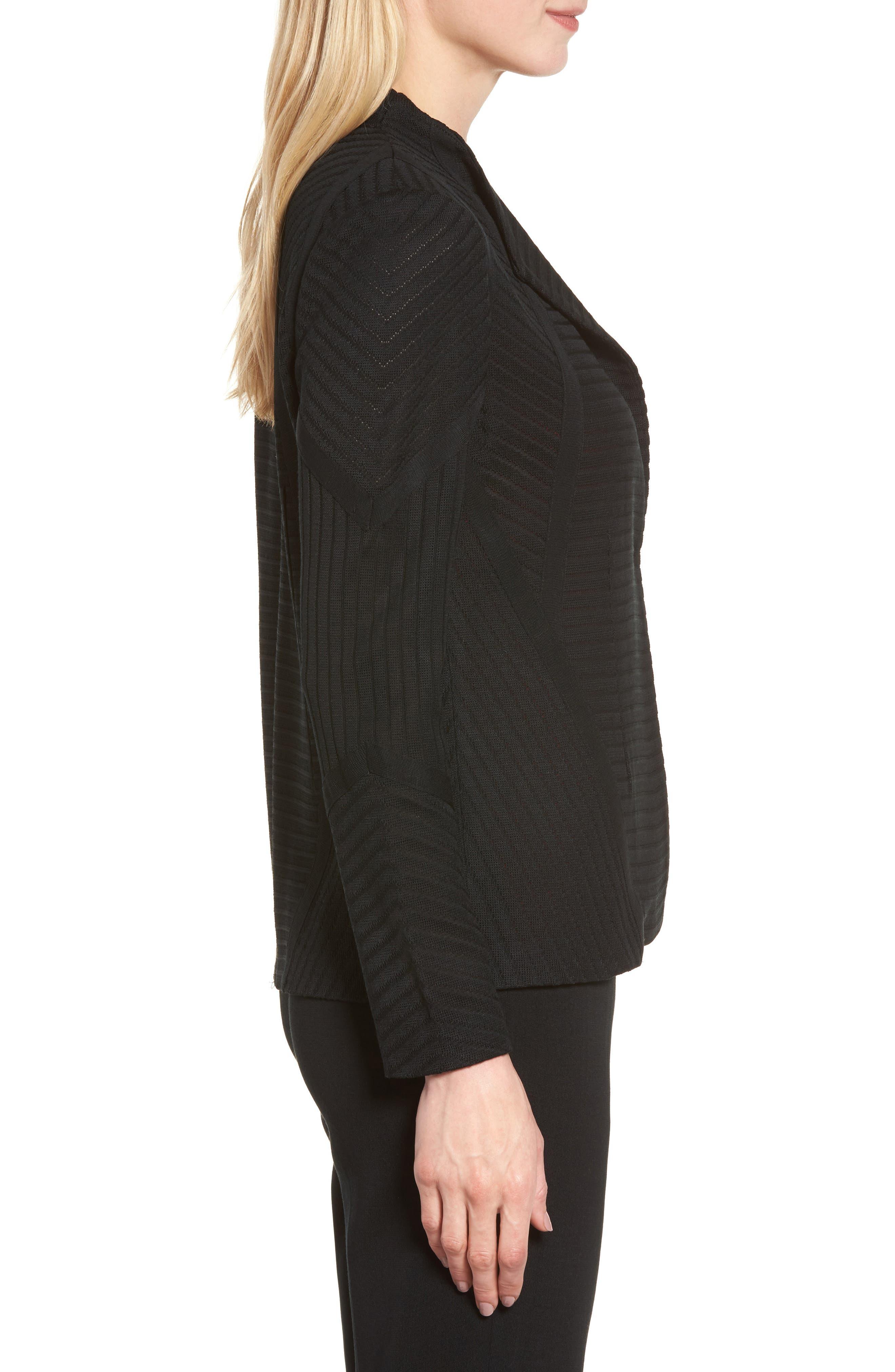 Striped Knit Jacket,                             Alternate thumbnail 3, color,                             Black