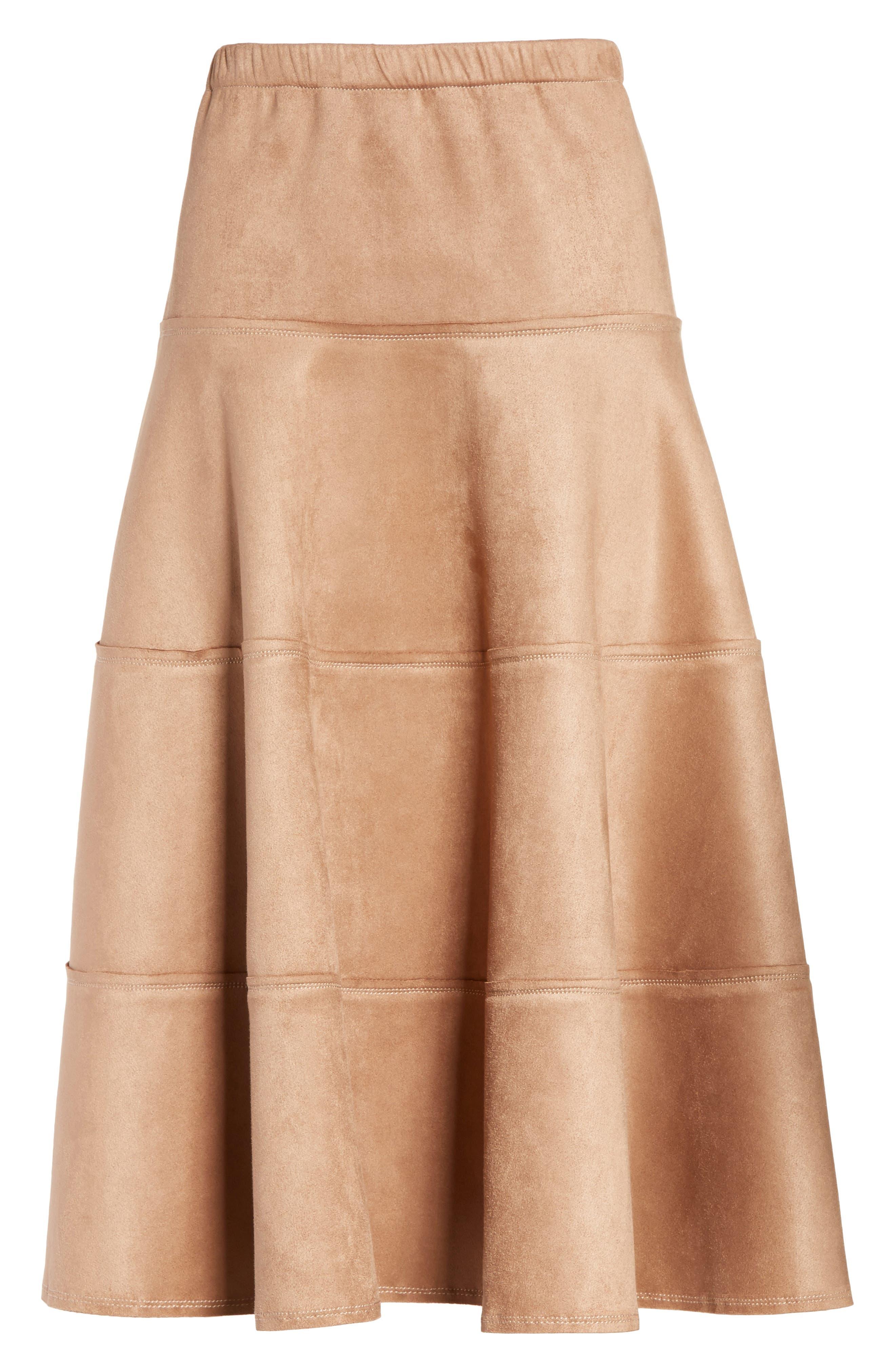 Metallic Midi Skirt,                             Alternate thumbnail 6, color,                             Dark Sand