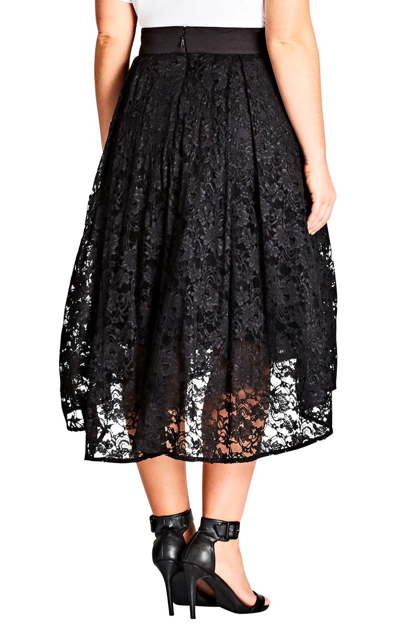 Lace High/Low Skirt,                             Alternate thumbnail 2, color,                             Black
