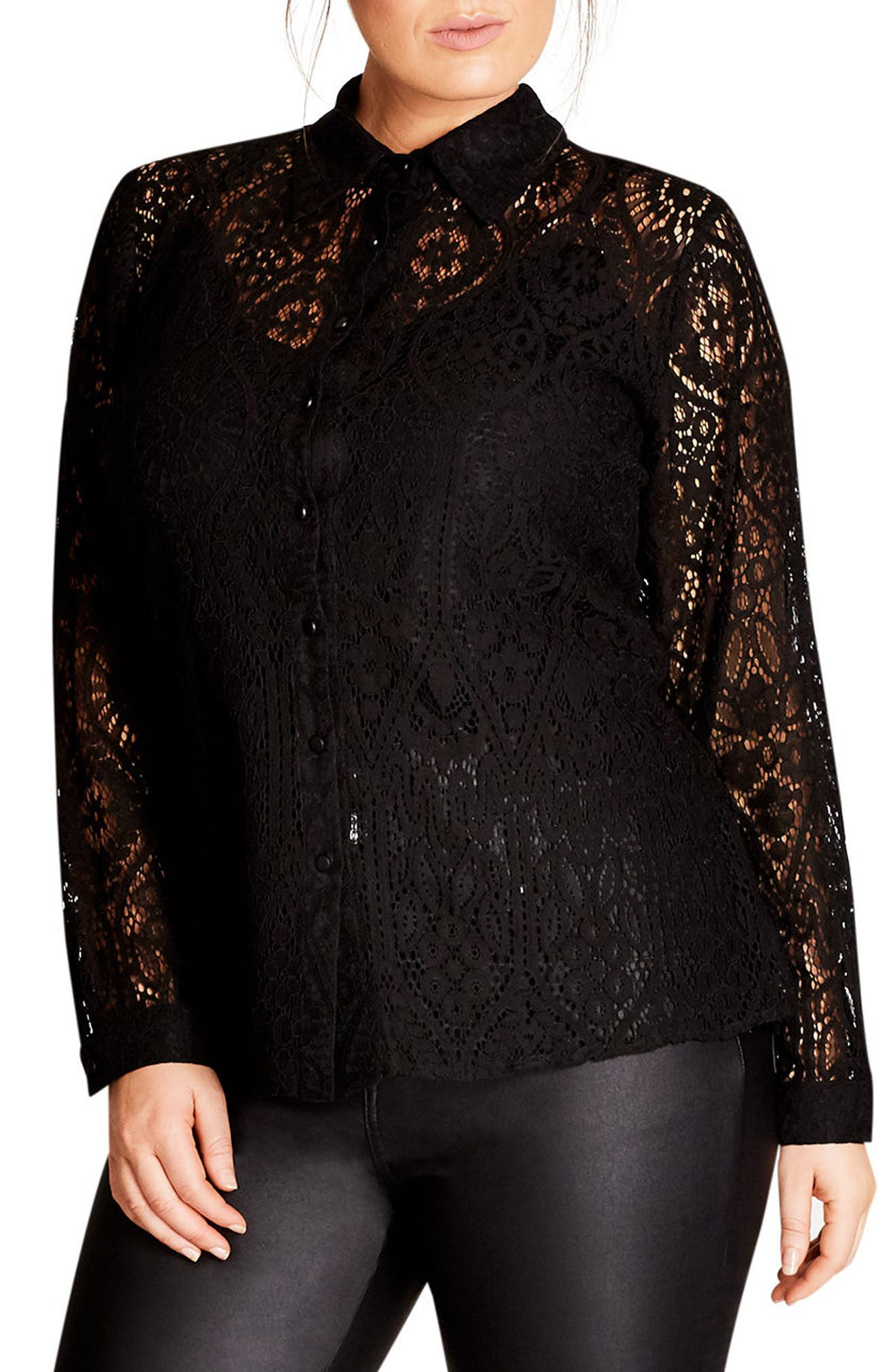 Alternate Image 1 Selected - City Chic Lace Shirt (Plus Size)