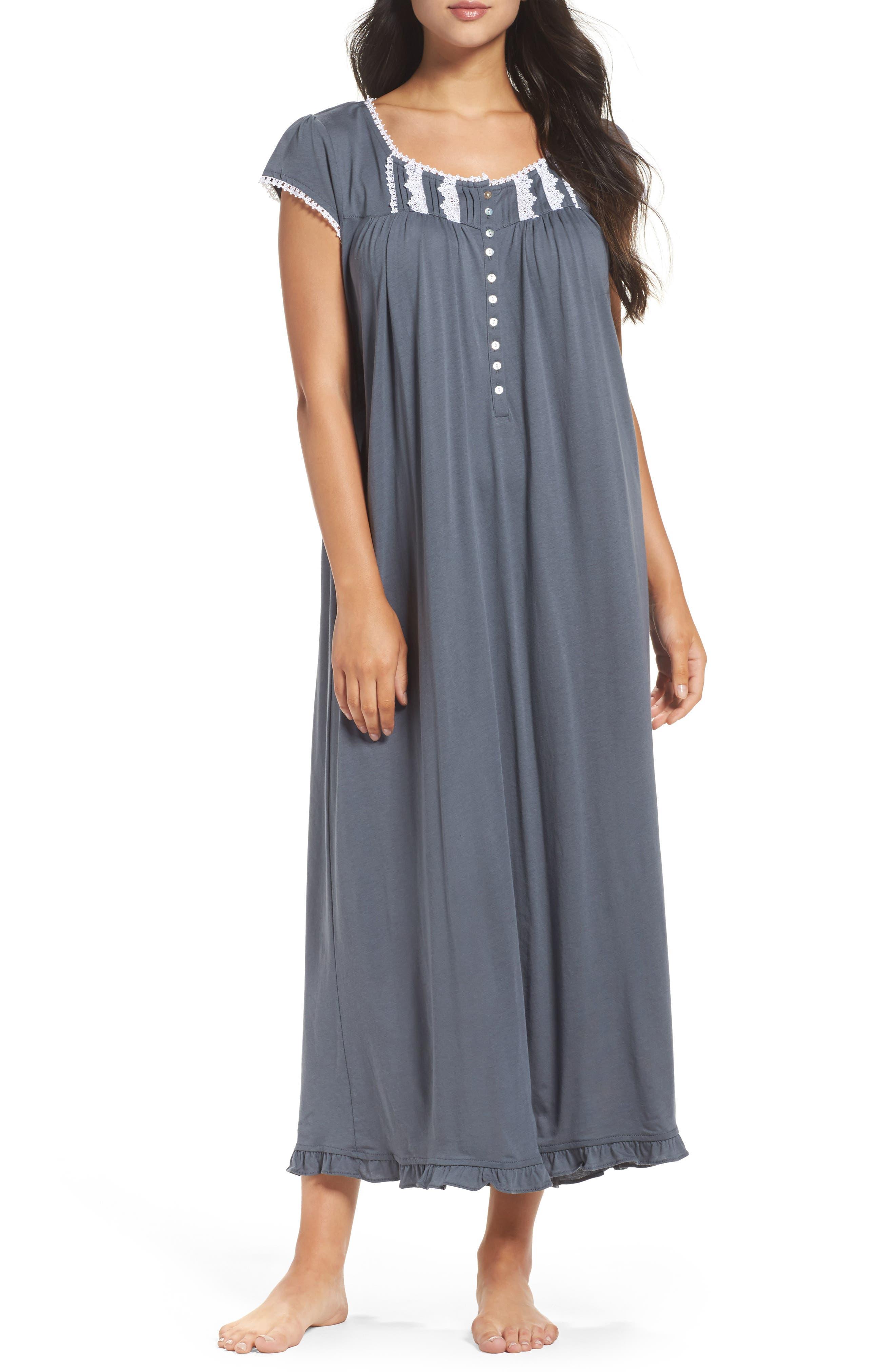 Cotton & Modal Ballet Nightgown,                         Main,                         color, Black