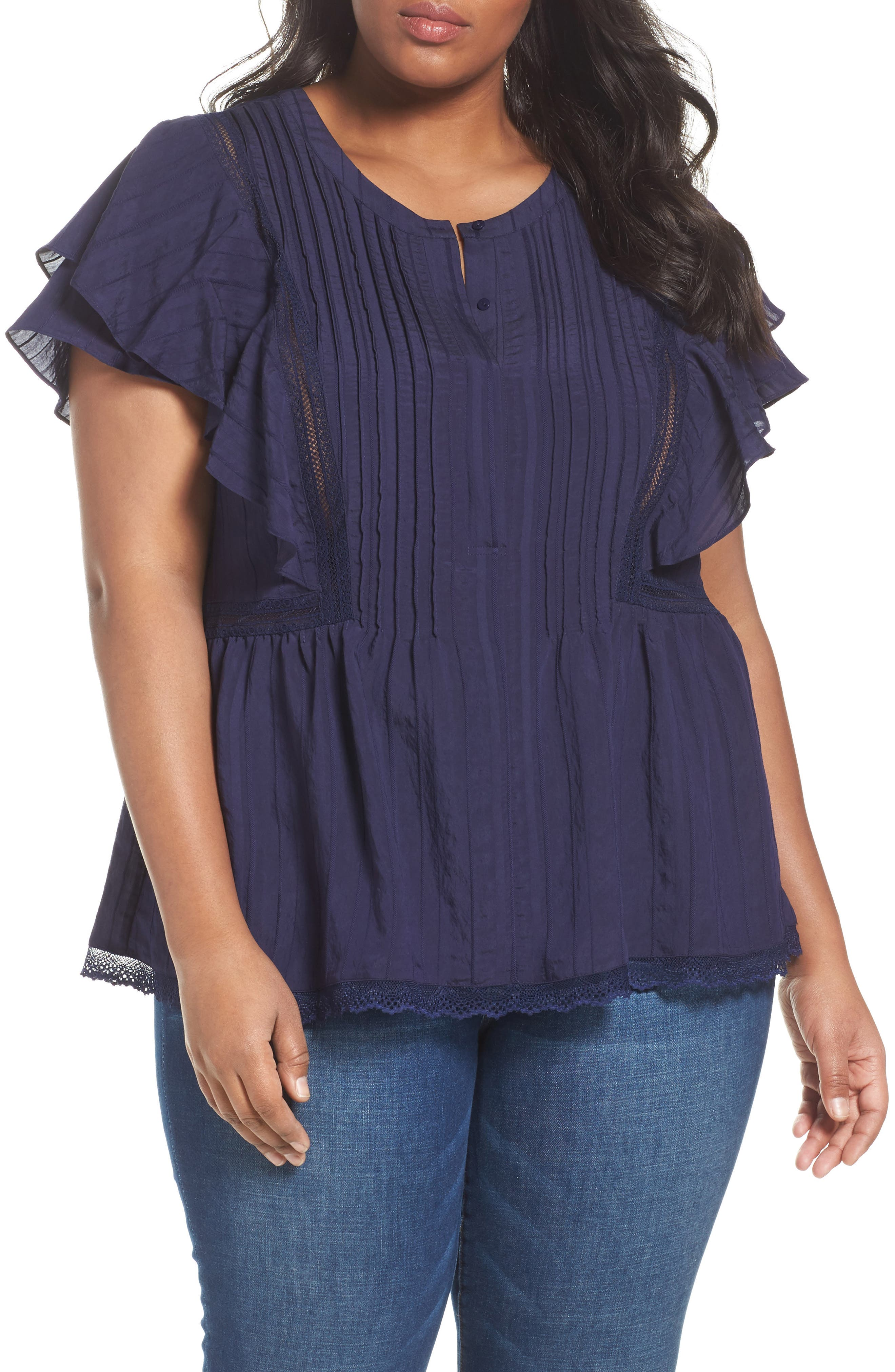 SEJOUR Lace Trim Pintuck Pleated Top