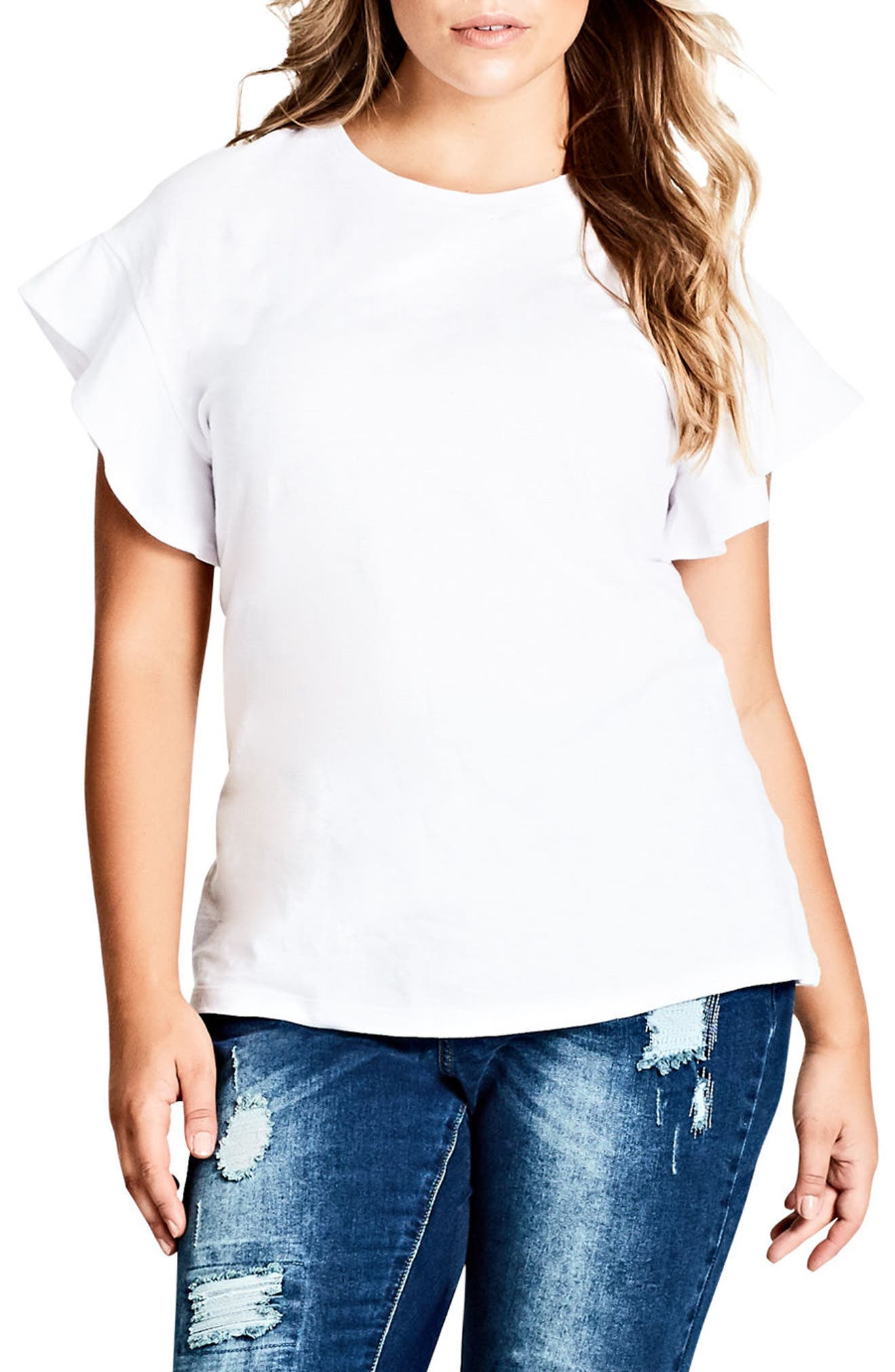 City Chic Flutter Sleeve Tee (Plus Size)