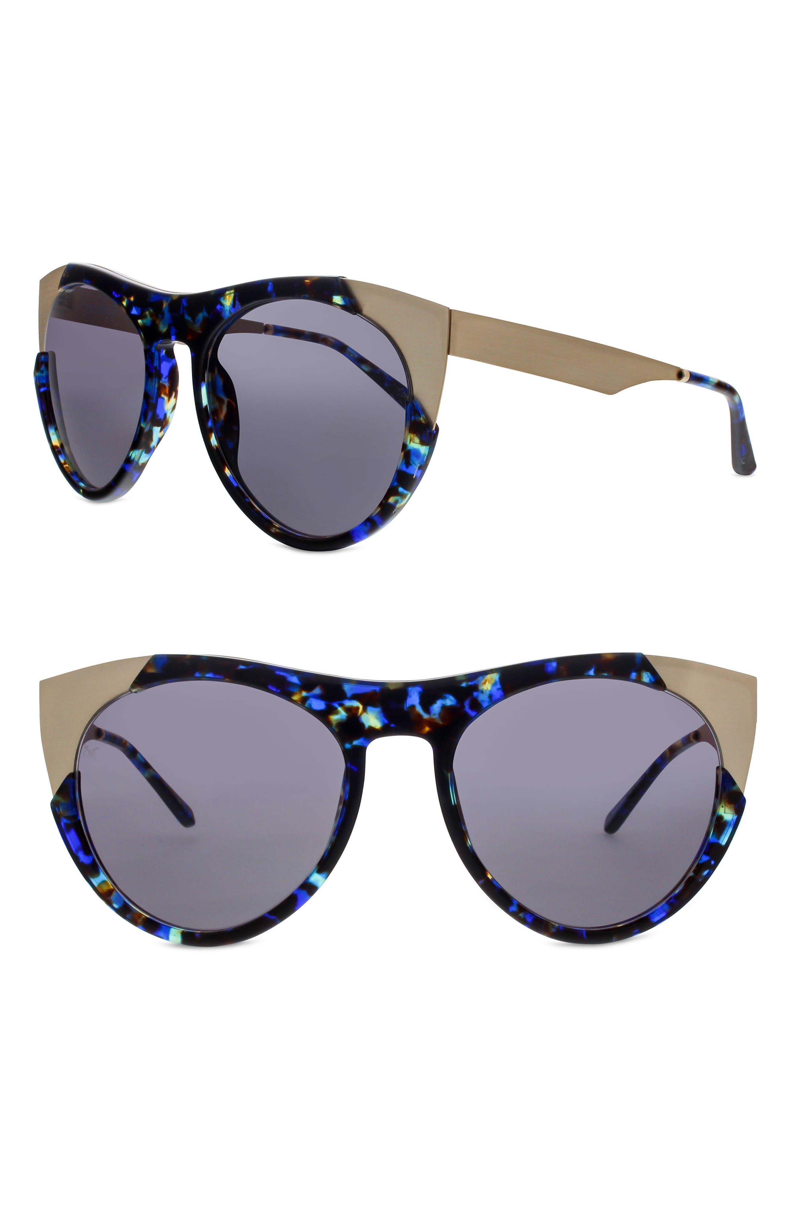 Zoubisou 53mm Cat Eye Sunglasses,                         Main,                         color, Blue Glam/ Brushed Gold