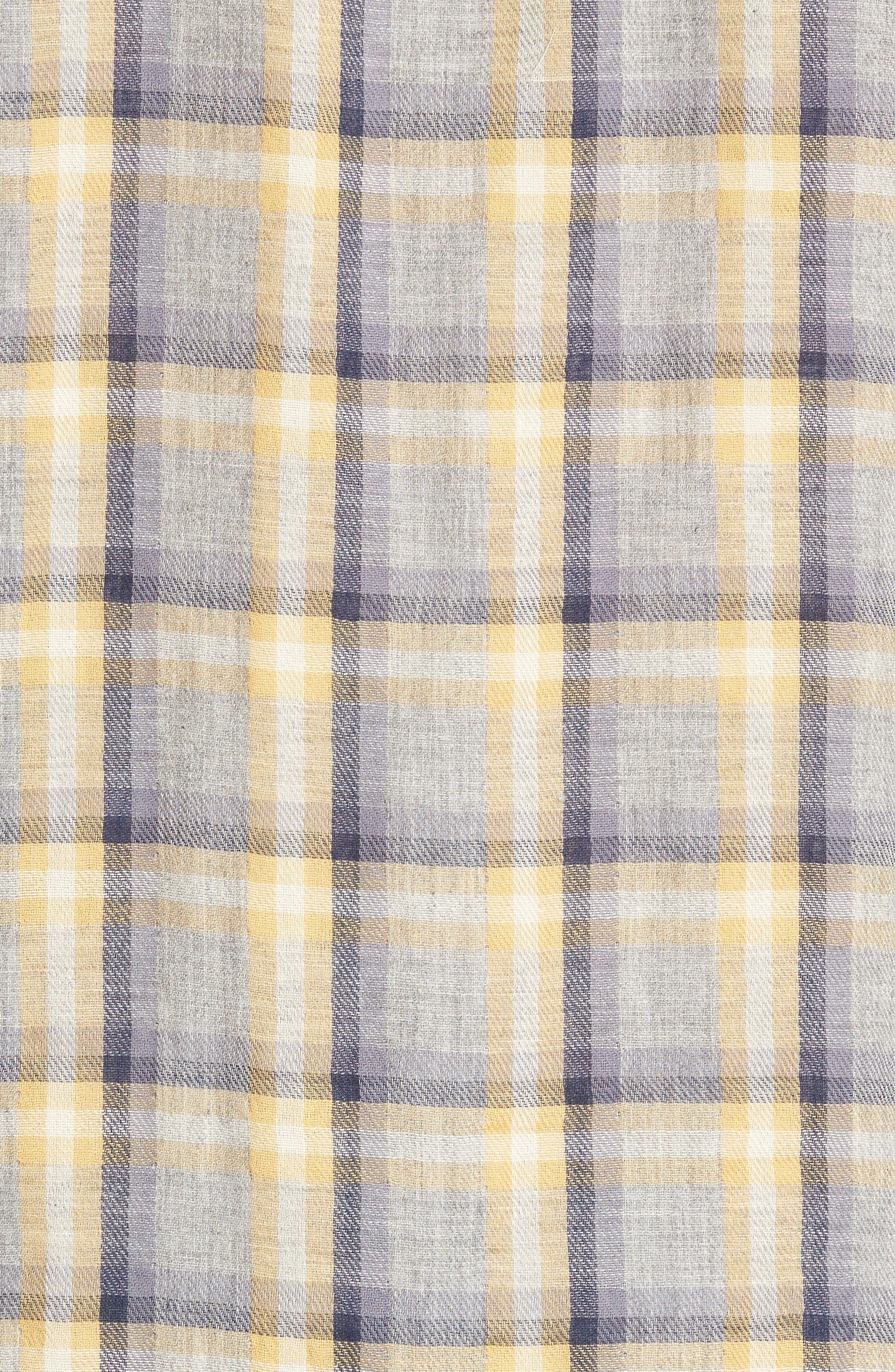 Sheldon Modern Fit Double Cloth Windowpane Sport Shirt,                             Alternate thumbnail 5, color,                             Yellow Stone Gray