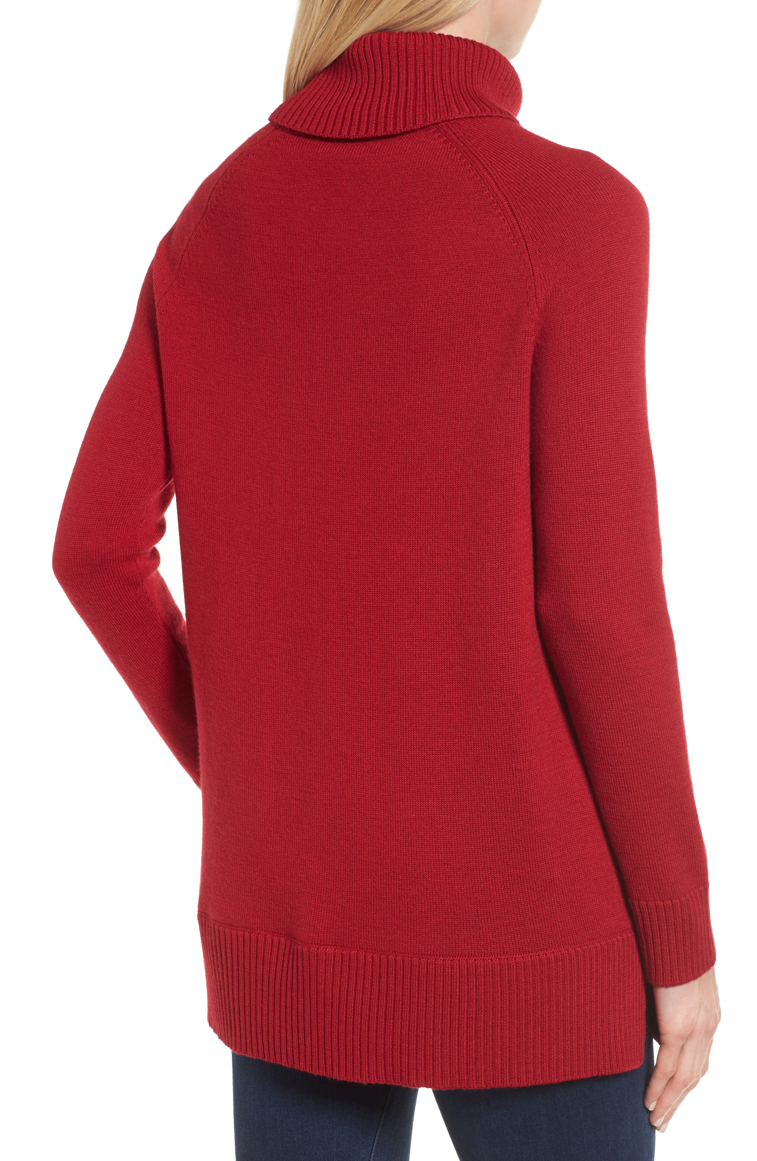 Tessa Turtleneck Wool Maternity Sweater,                             Alternate thumbnail 2, color,                             Cardamom Red
