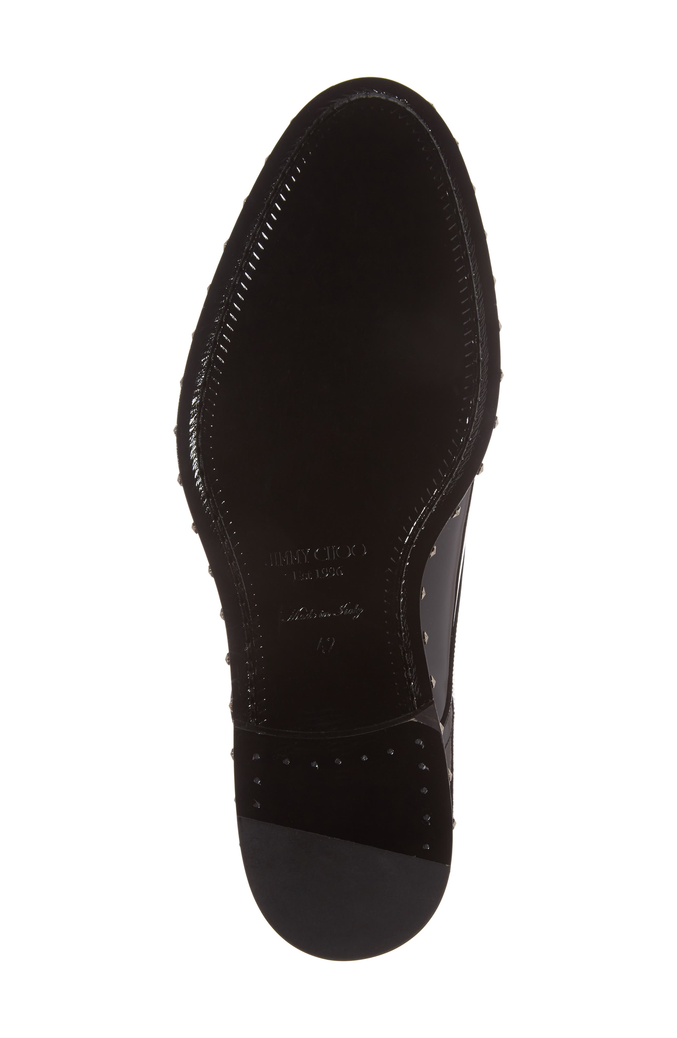 Studded Plain Toe Derby,                             Alternate thumbnail 6, color,                             Black Patent Leather