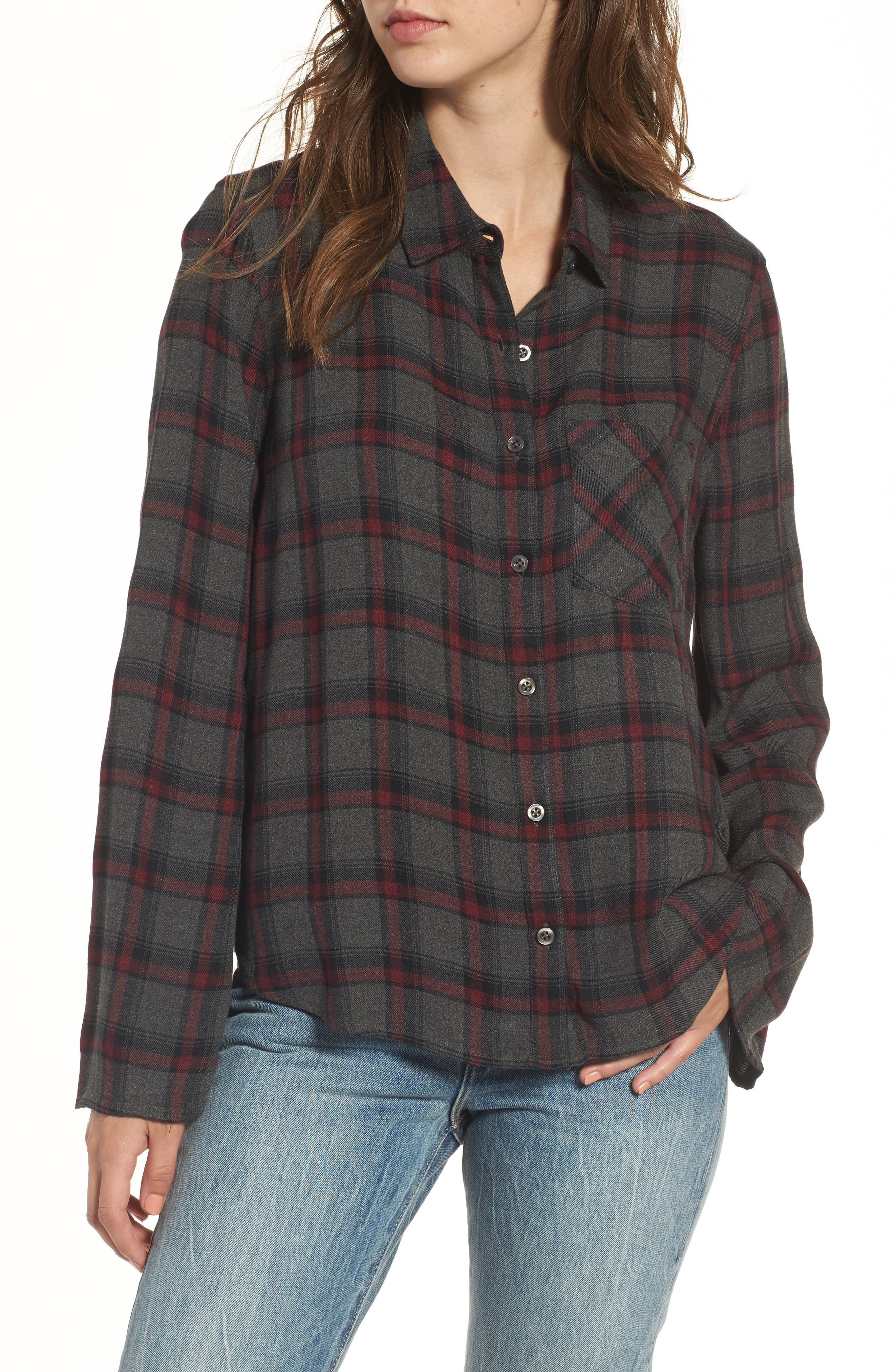 Flare Sleeve Plaid Shirt,                         Main,                         color, Grey Medium Hayden Plaid