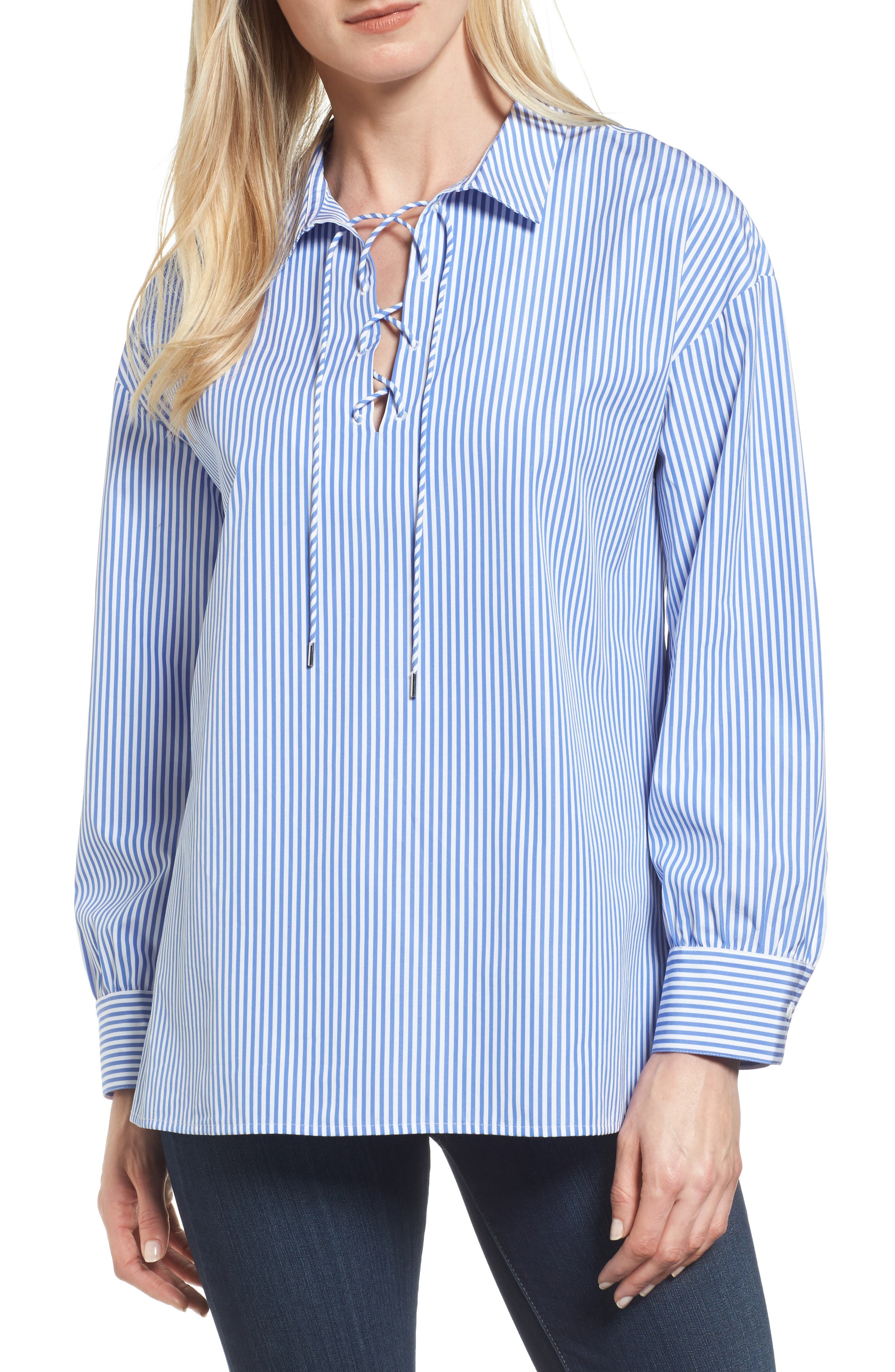 Lace-Up Stripe Shirt,                         Main,                         color, Blue/ White Stripe