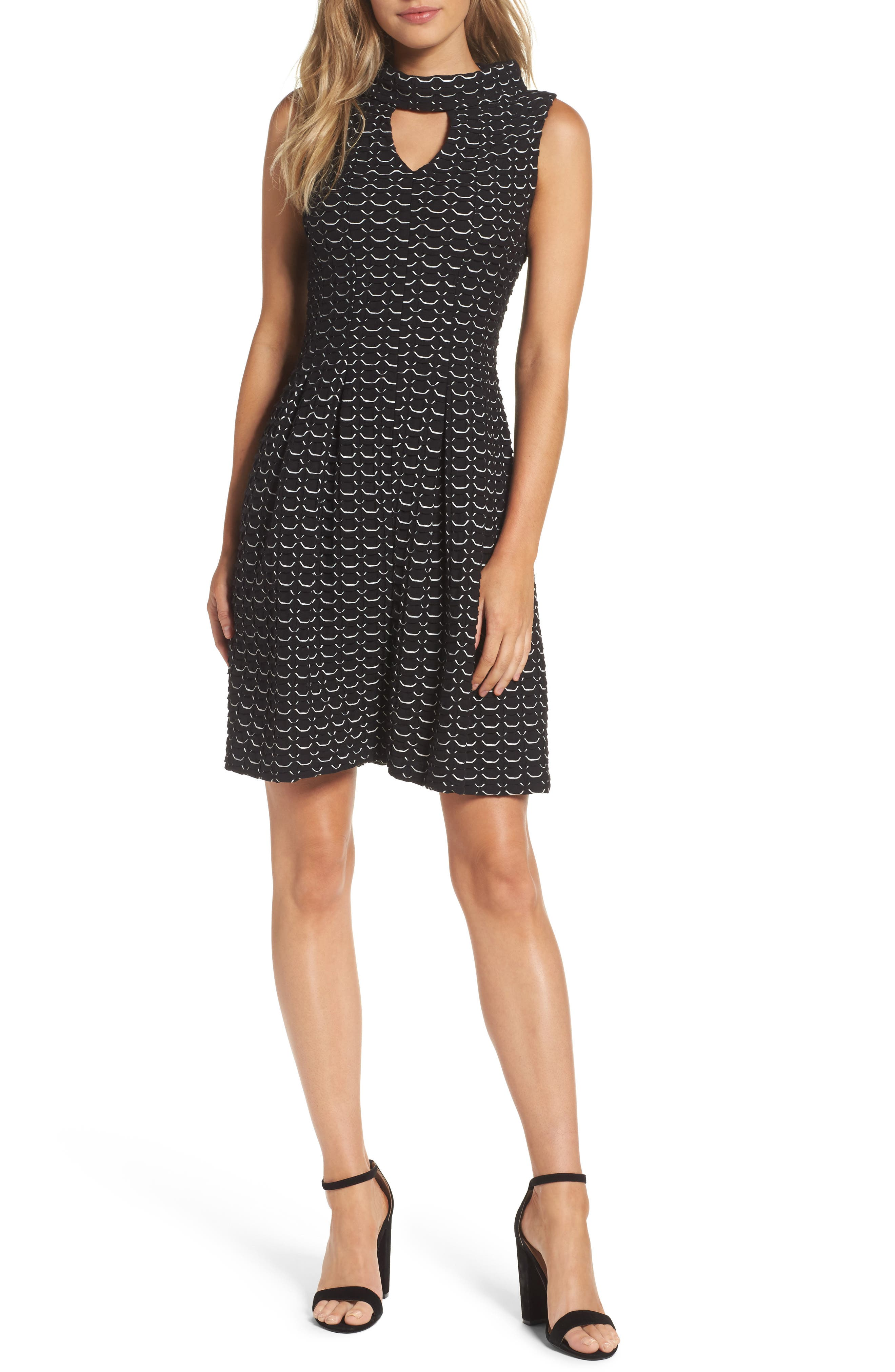 Taylor Dresses Textured Knit Fit & Flare Dress