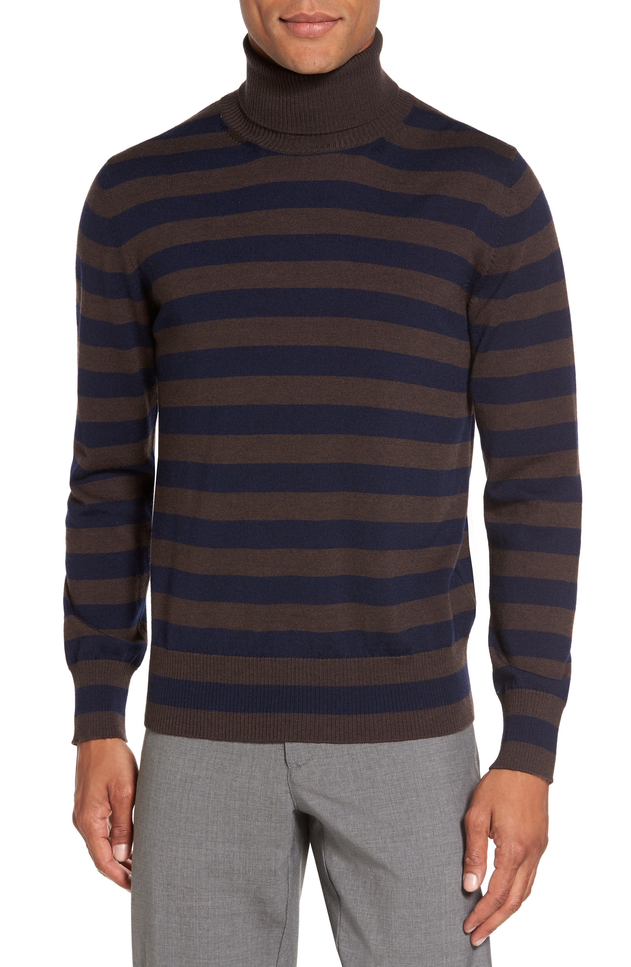 Striped Turtleneck Sweater,                         Main,                         color, Brown/ Navy