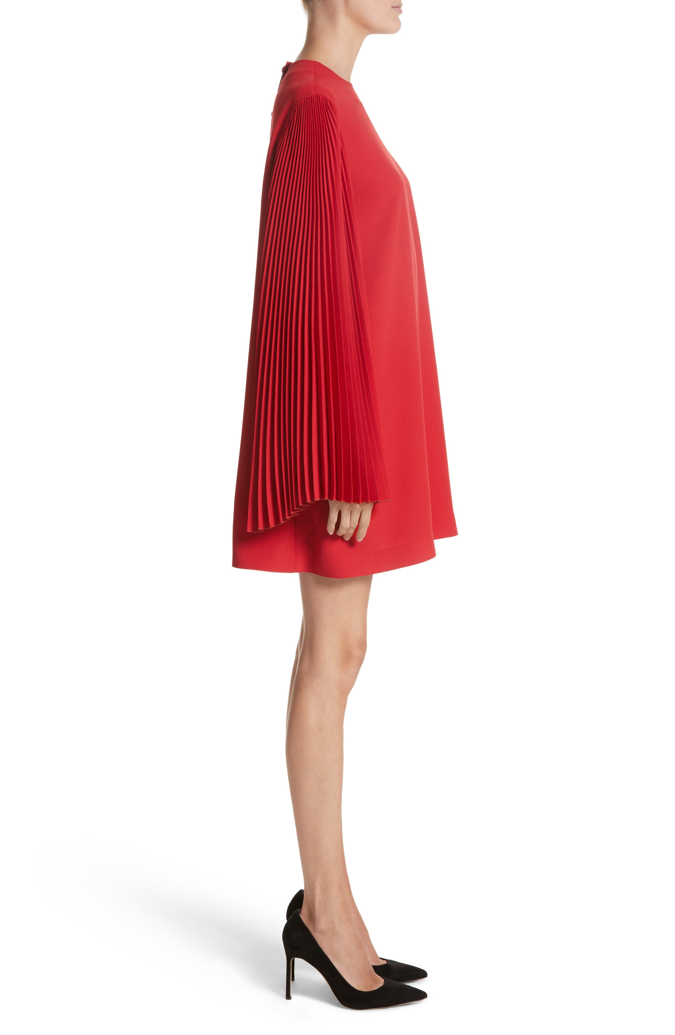 Pleated Sleeve Crepe Cady Dress,                             Alternate thumbnail 3, color,                             Red