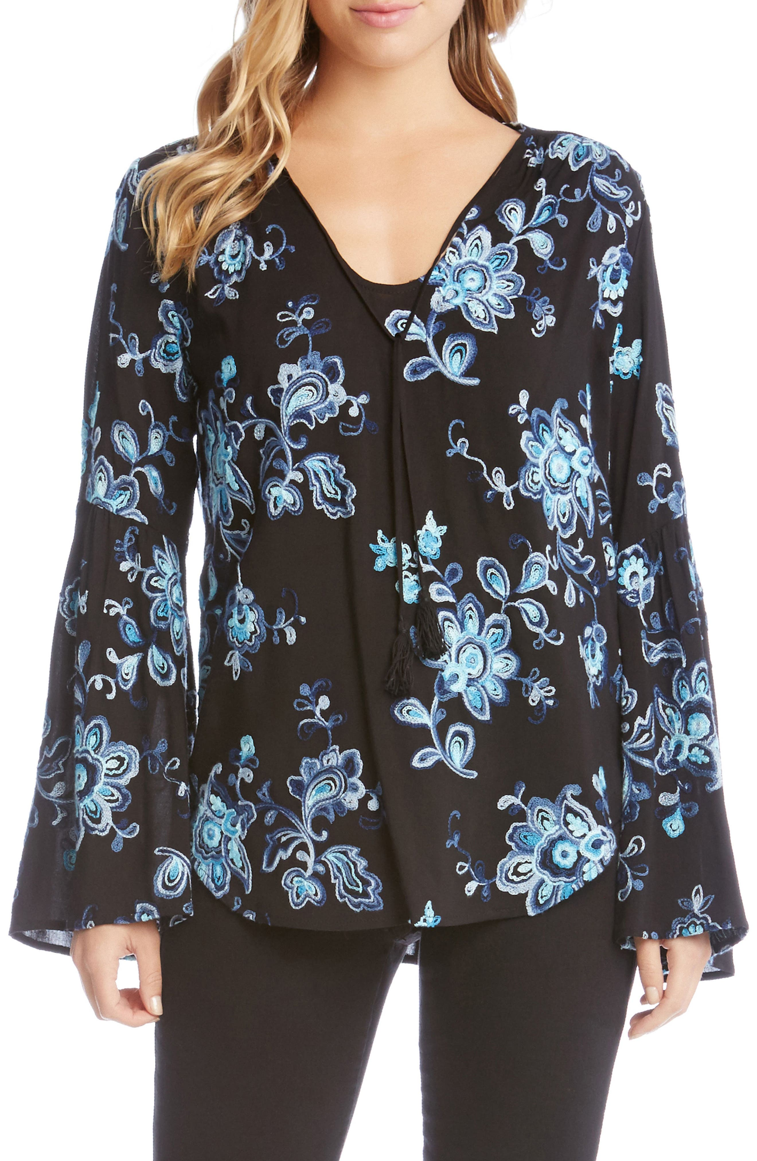 KAREN KANE Floral Embroidery Bell Sleeve Top