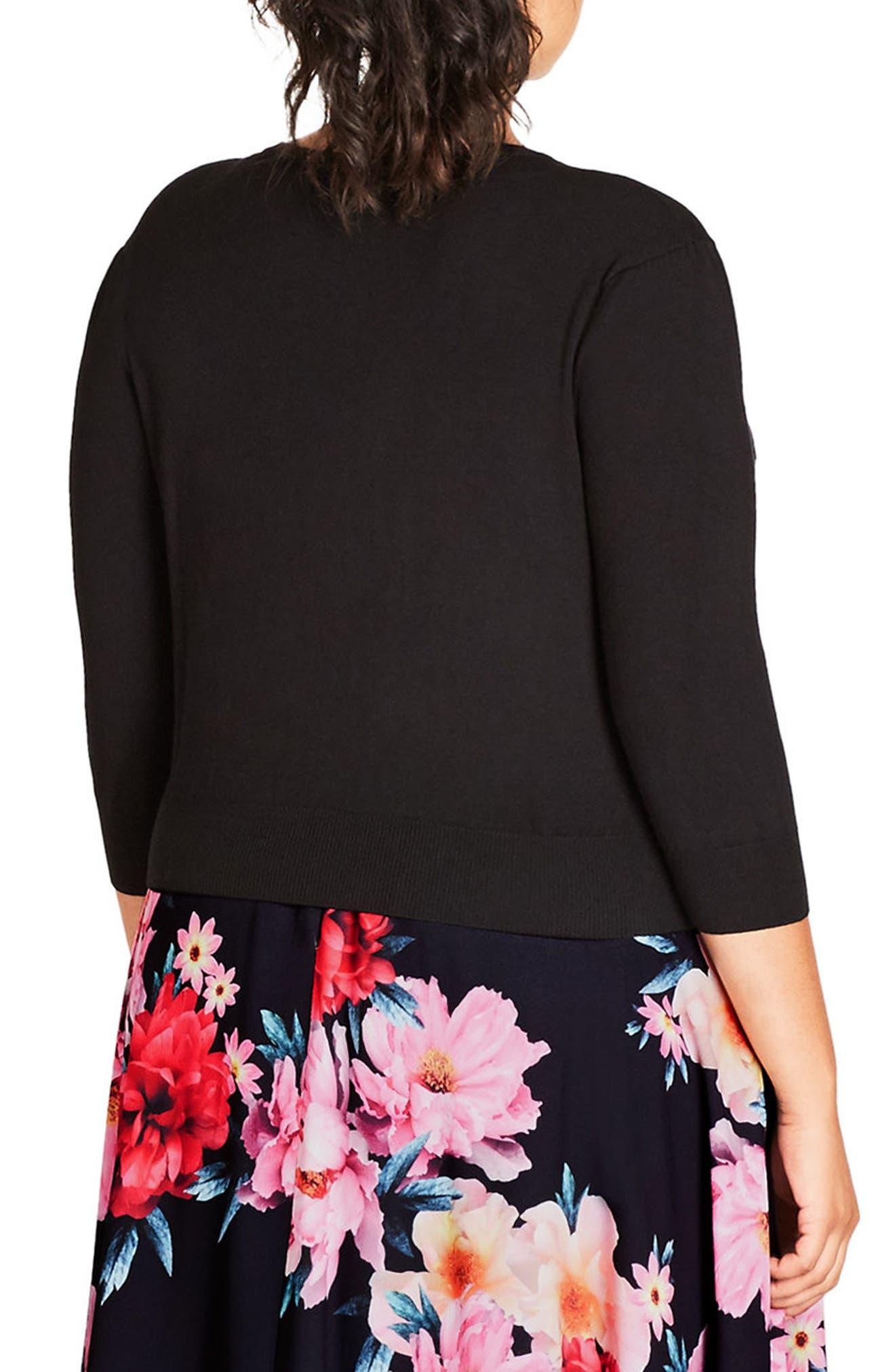 Alternate Image 2  - City Chic Baroque Lace Trim Button Cardigan (Plus Size)