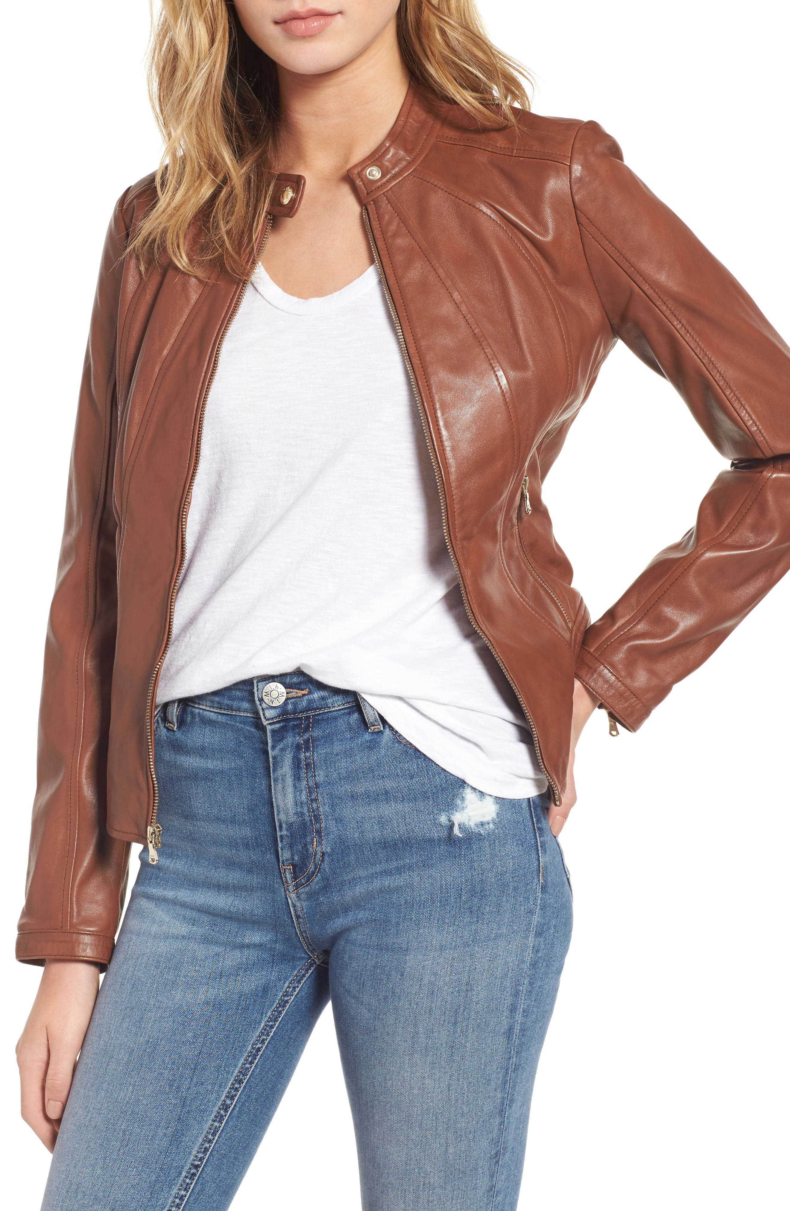 Collarless Leather Moto Jacket,                         Main,                         color, Cognac