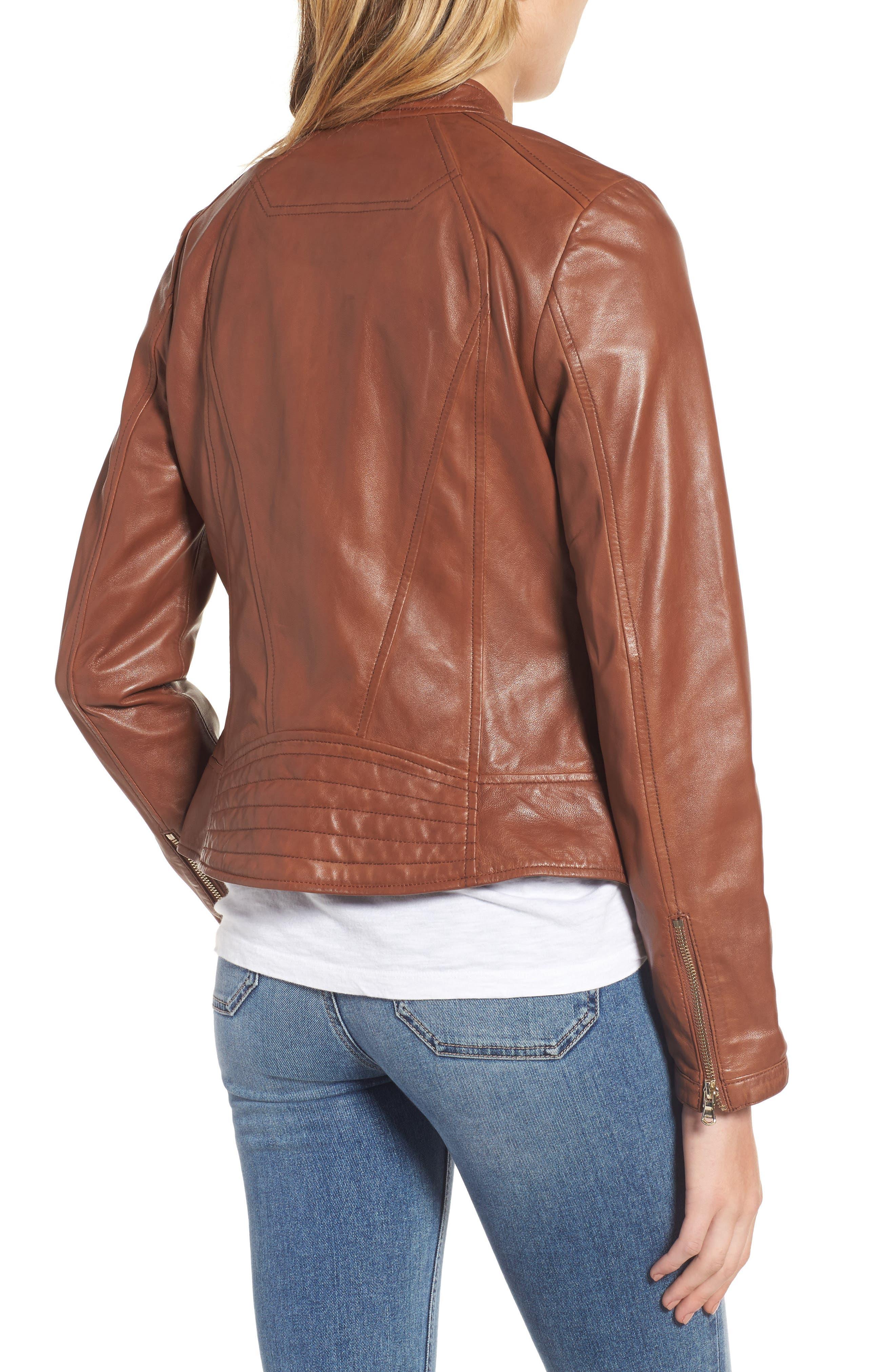 Alternate Image 2  - Guess Collarless Leather Moto Jacket