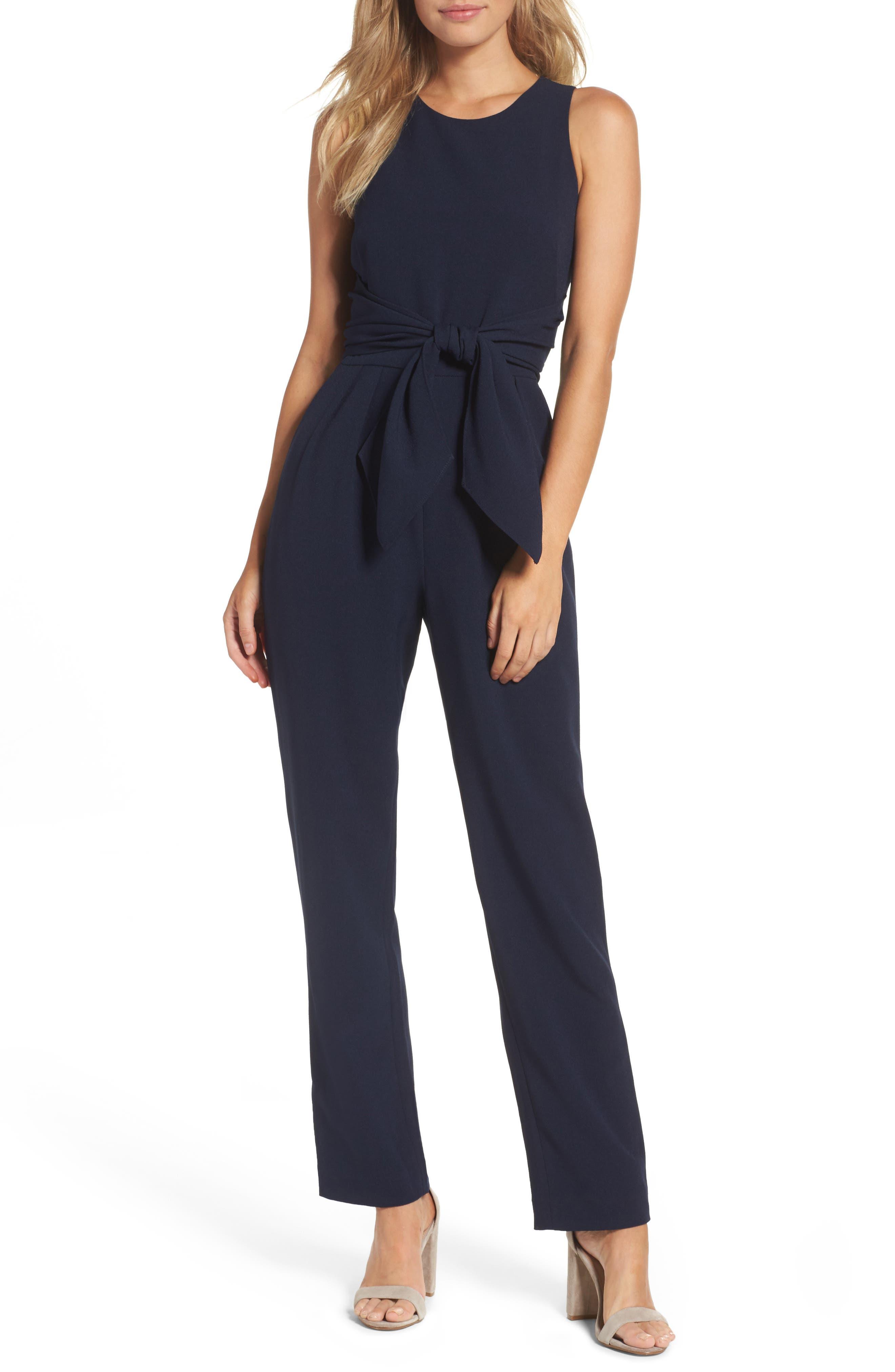 Crepe Jumpsuit,                         Main,                         color, Navy