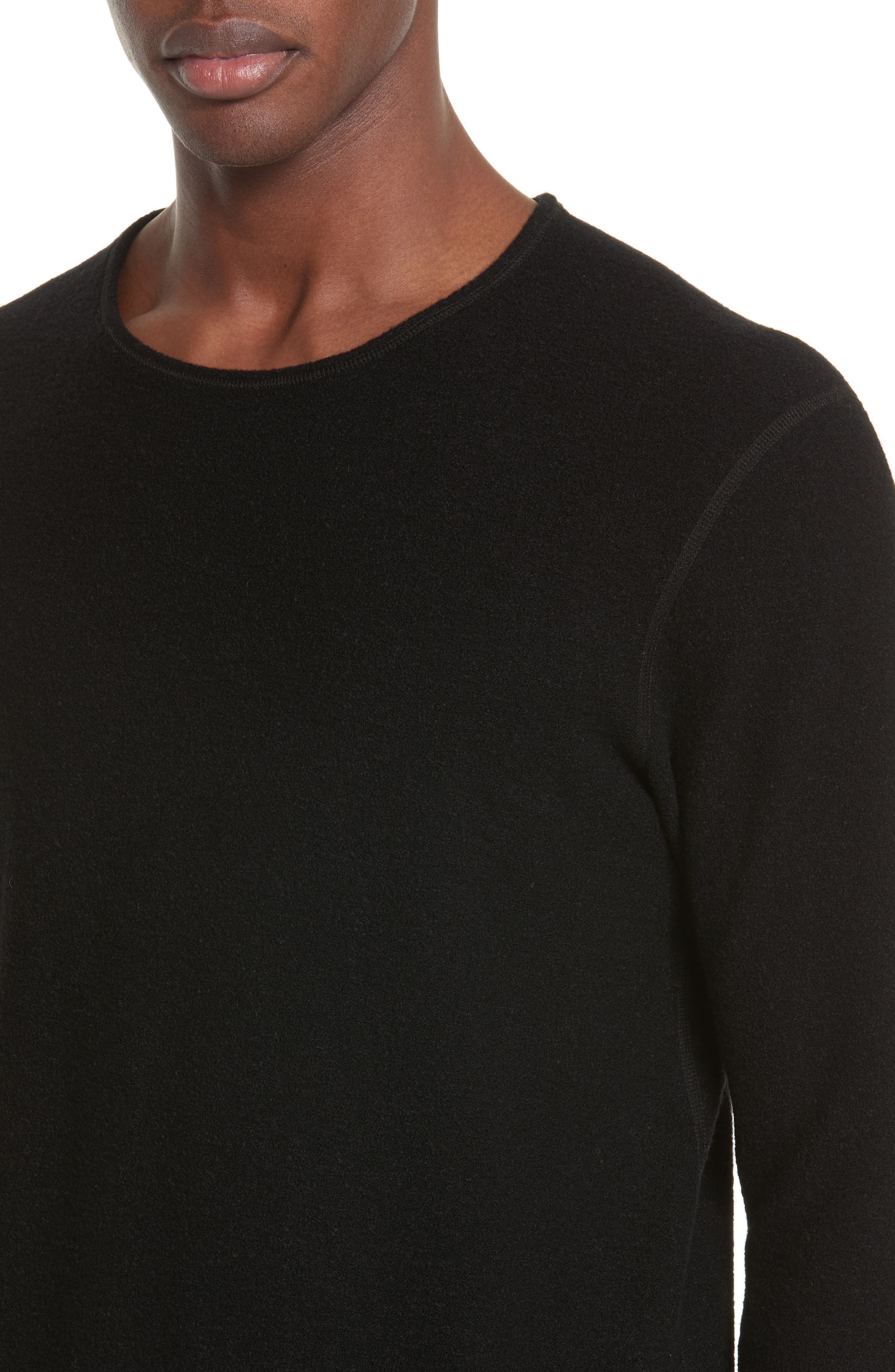 Felted Wool Blend Sweater,                             Alternate thumbnail 4, color,                             Black