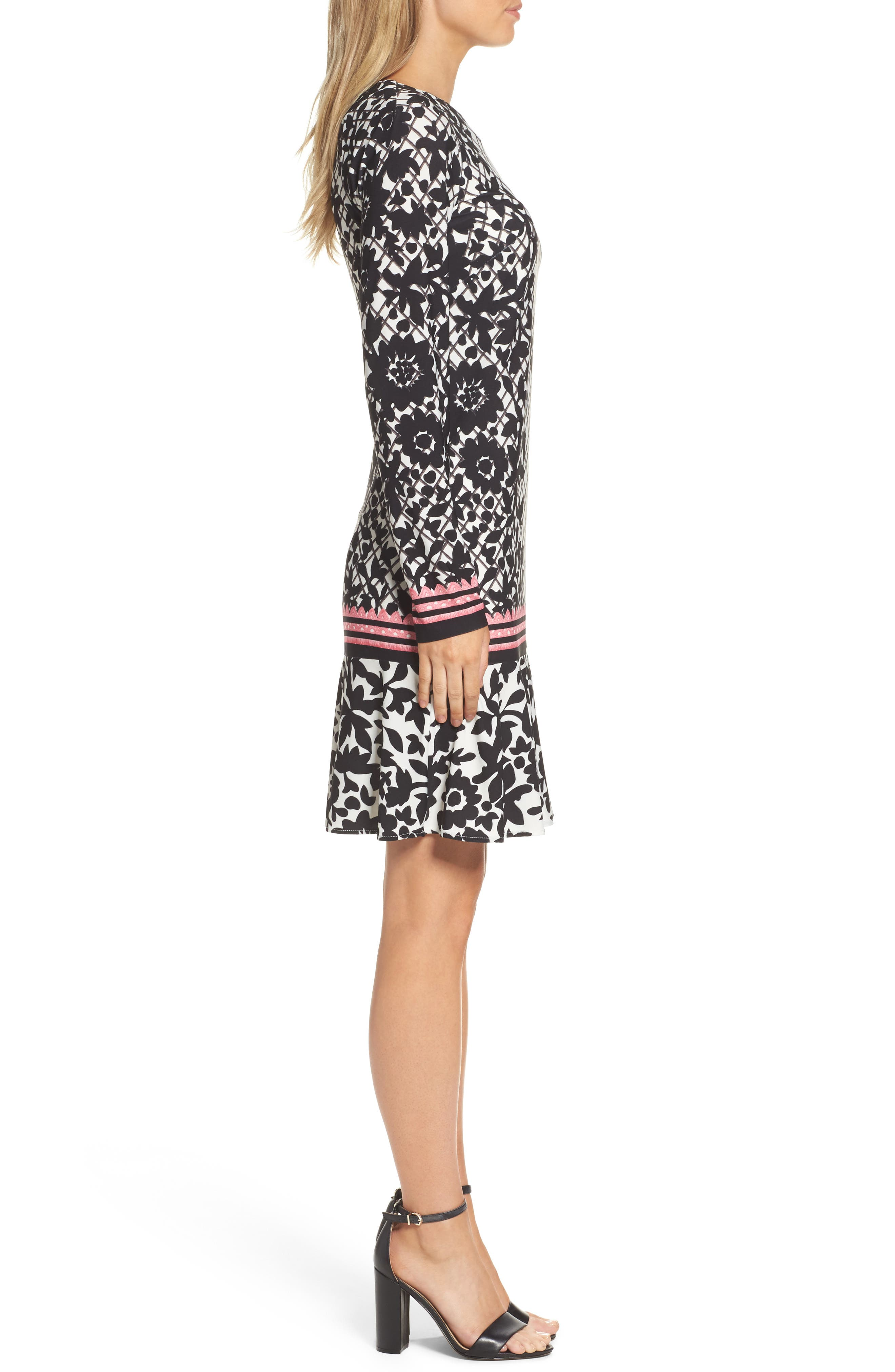 Print Knit Trumpet Dress,                             Alternate thumbnail 2, color,                             Black/ Pink