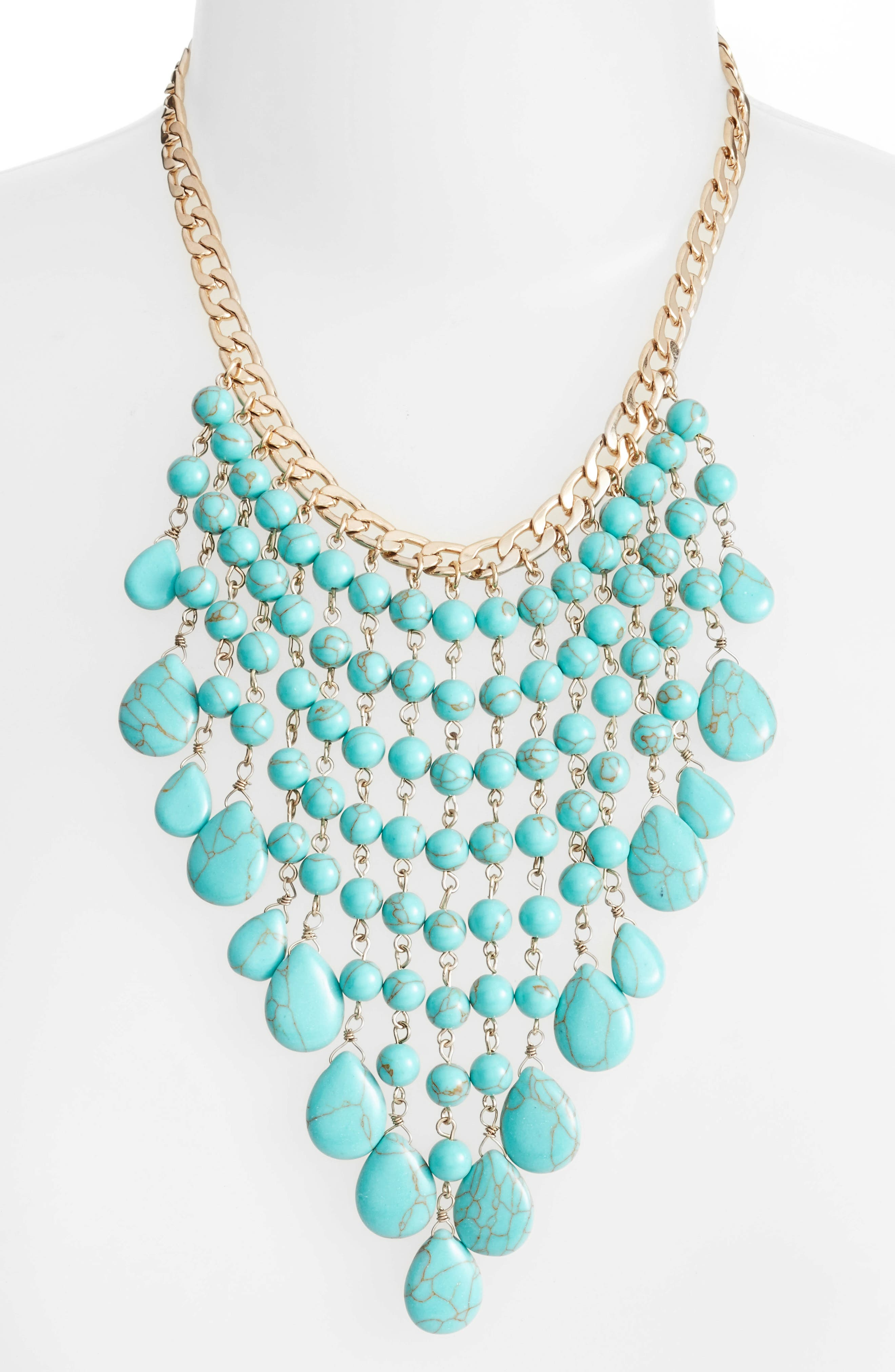 Spray Statement Necklace,                             Alternate thumbnail 2, color,                             Turquoise