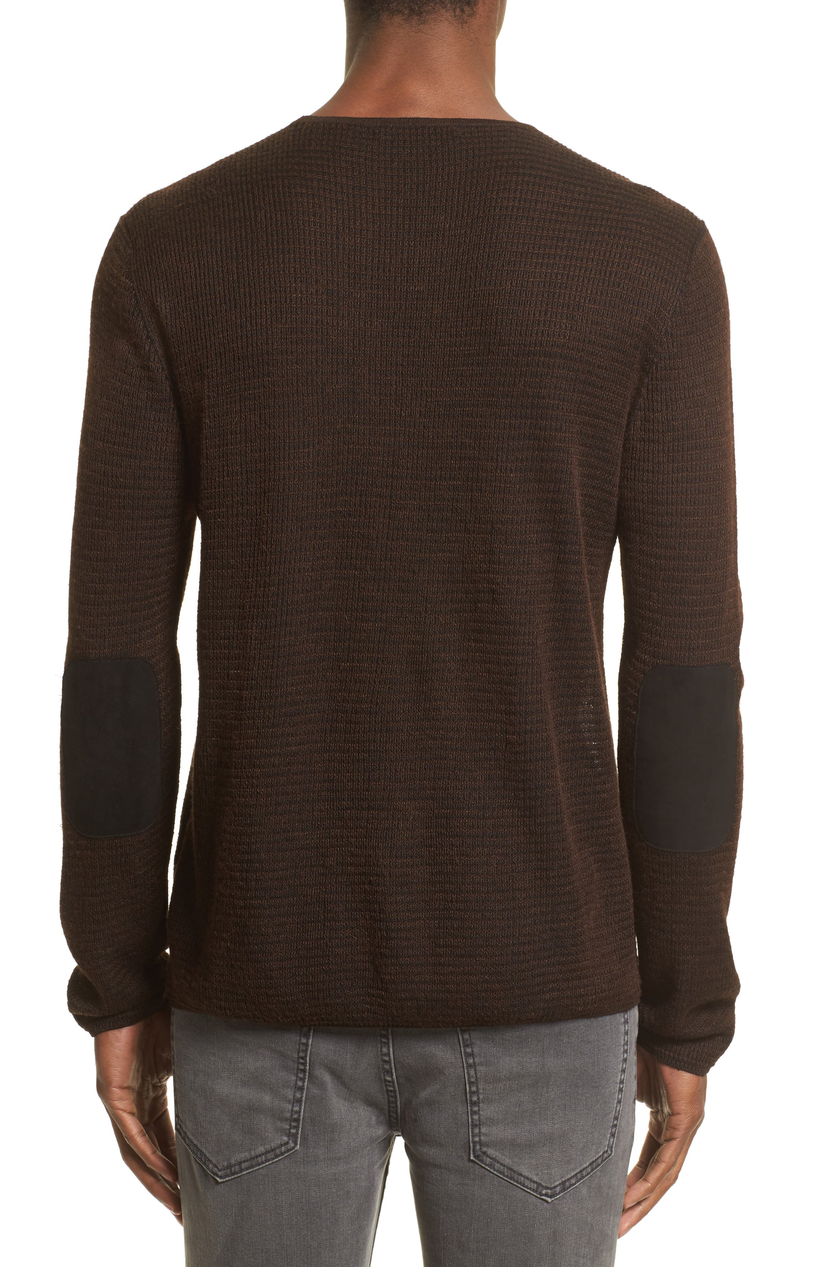 Waffle Knit Sweater,                             Alternate thumbnail 2, color,                             Wood Brown