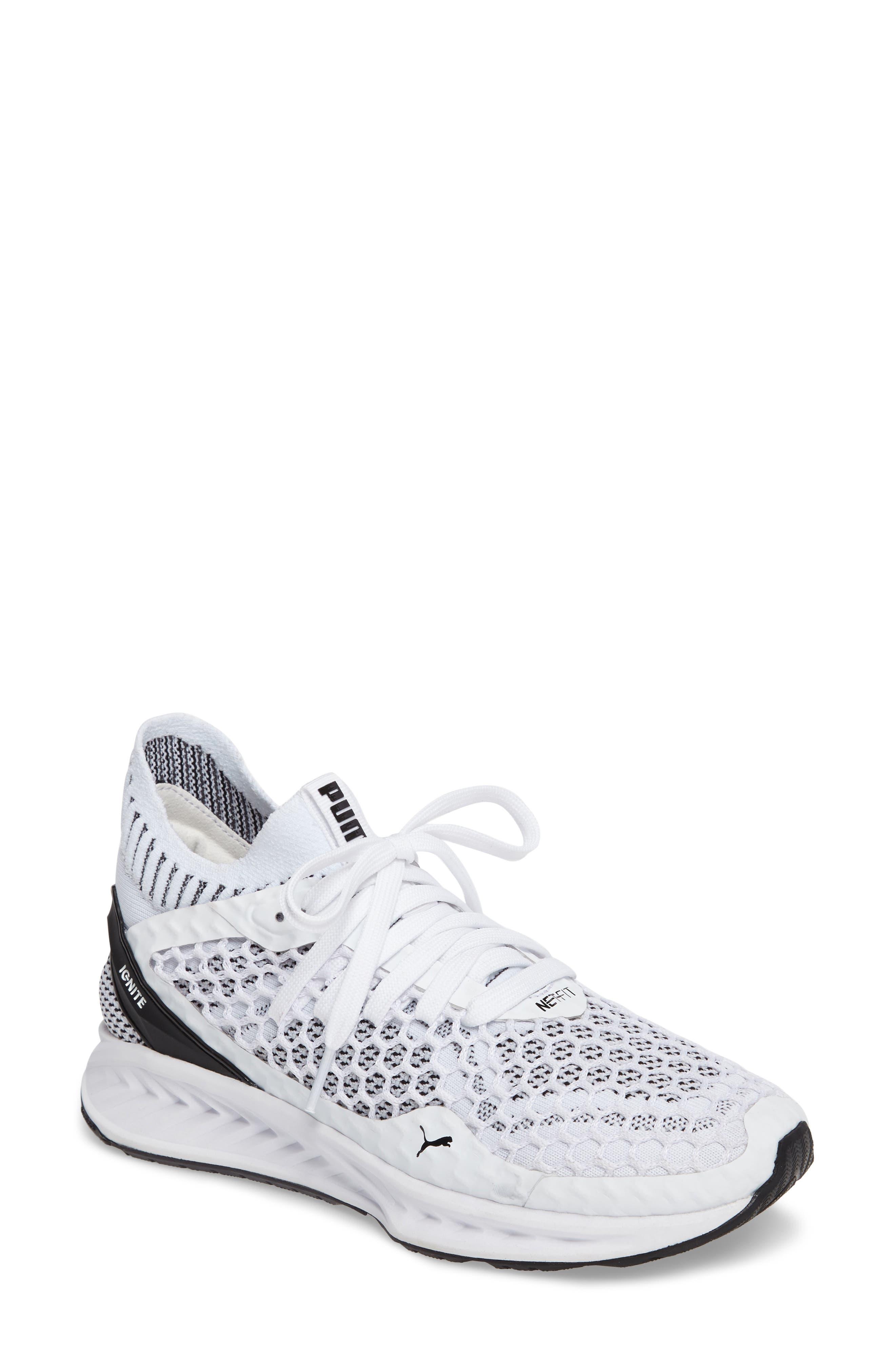 IGNITE evoKNIT Running Shoe,                         Main,                         color, White/ Black