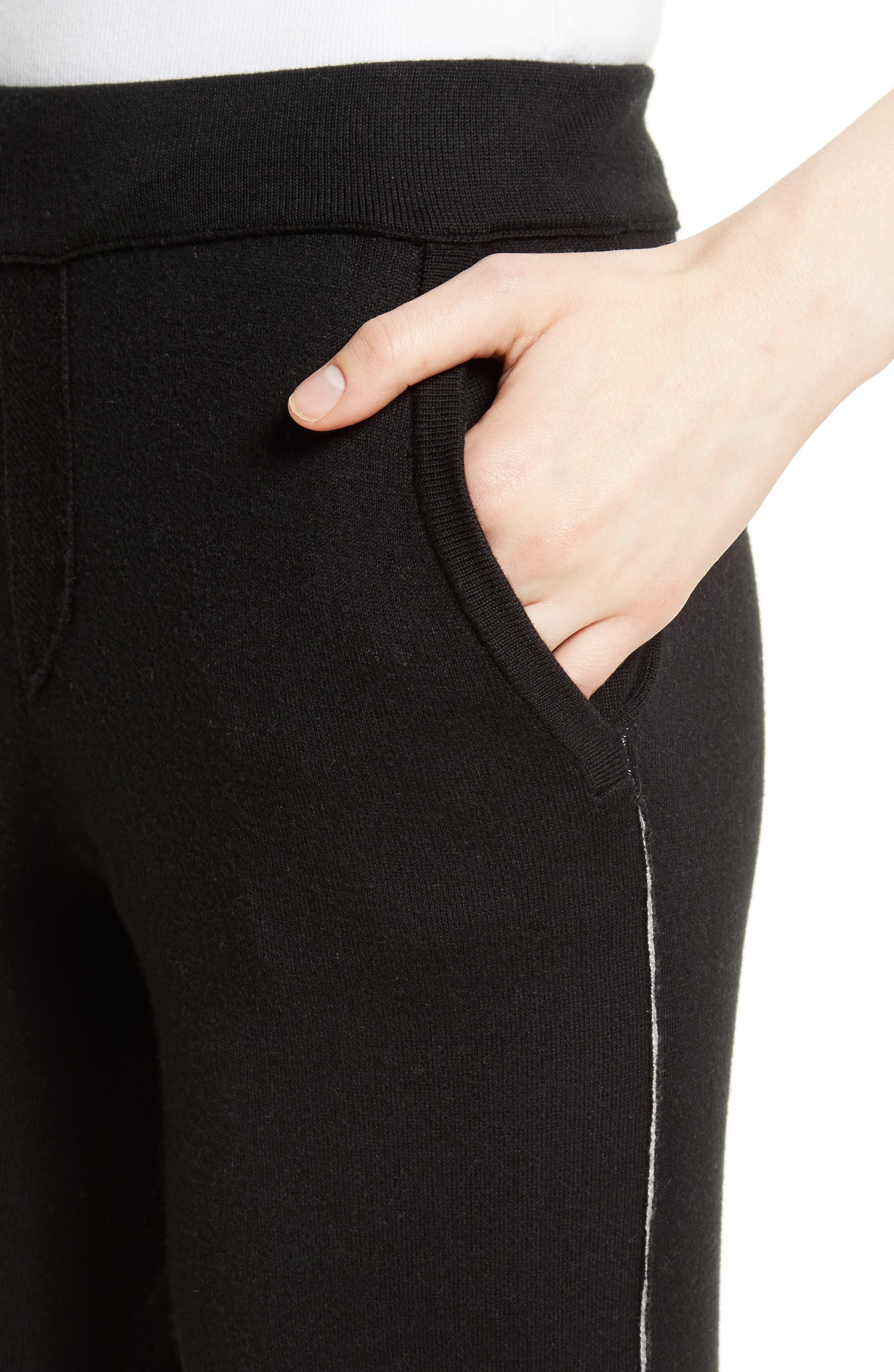 Cotton Blend Knit Sweatpants,                             Alternate thumbnail 5, color,                             Black/ Foggy
