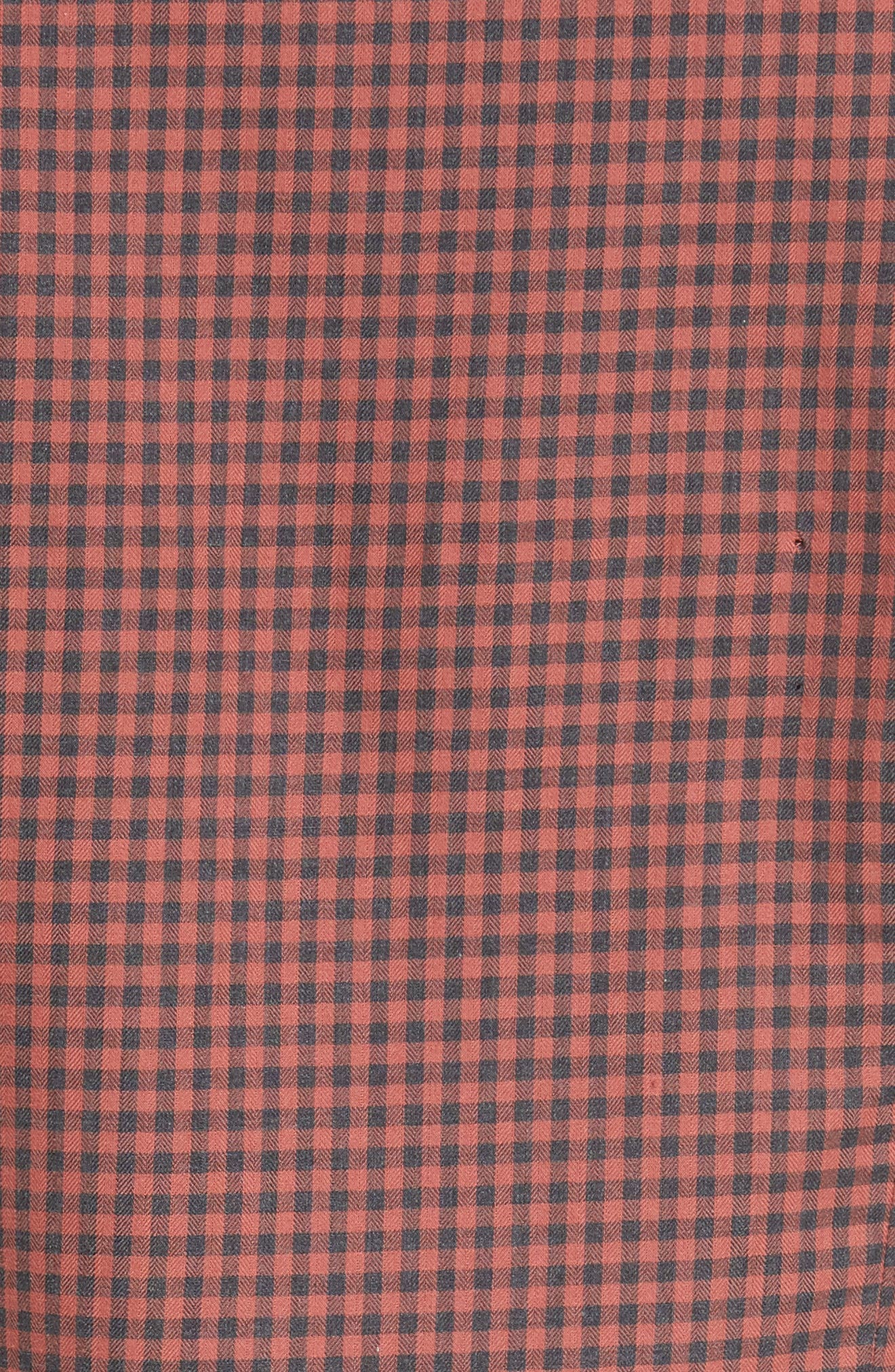 Trim Fit Gingham Sport Shirt,                             Alternate thumbnail 5, color,                             Terracotta