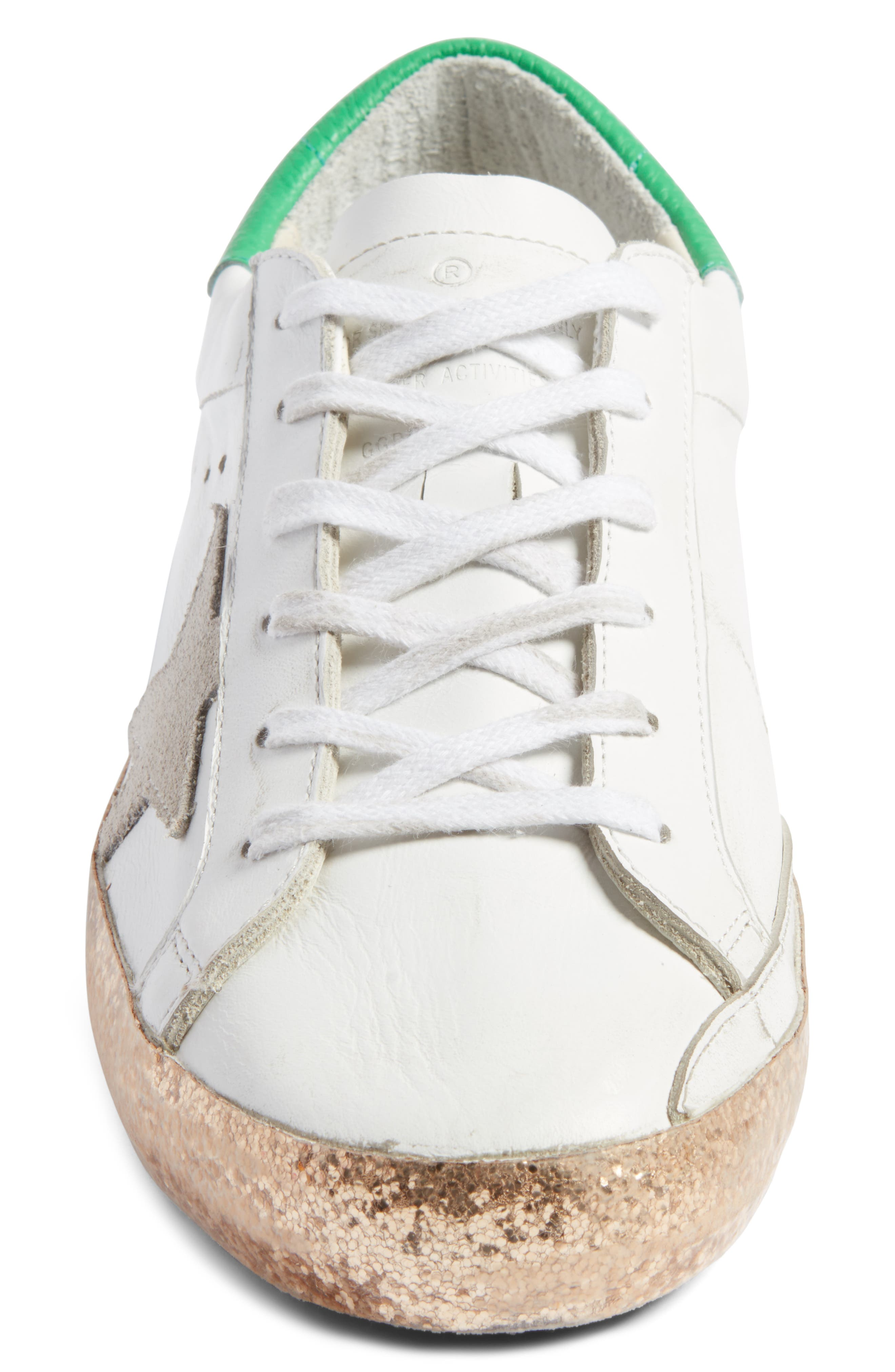 Superstar Low Top Sneaker,                             Alternate thumbnail 4, color,                             White Leather/ Gold