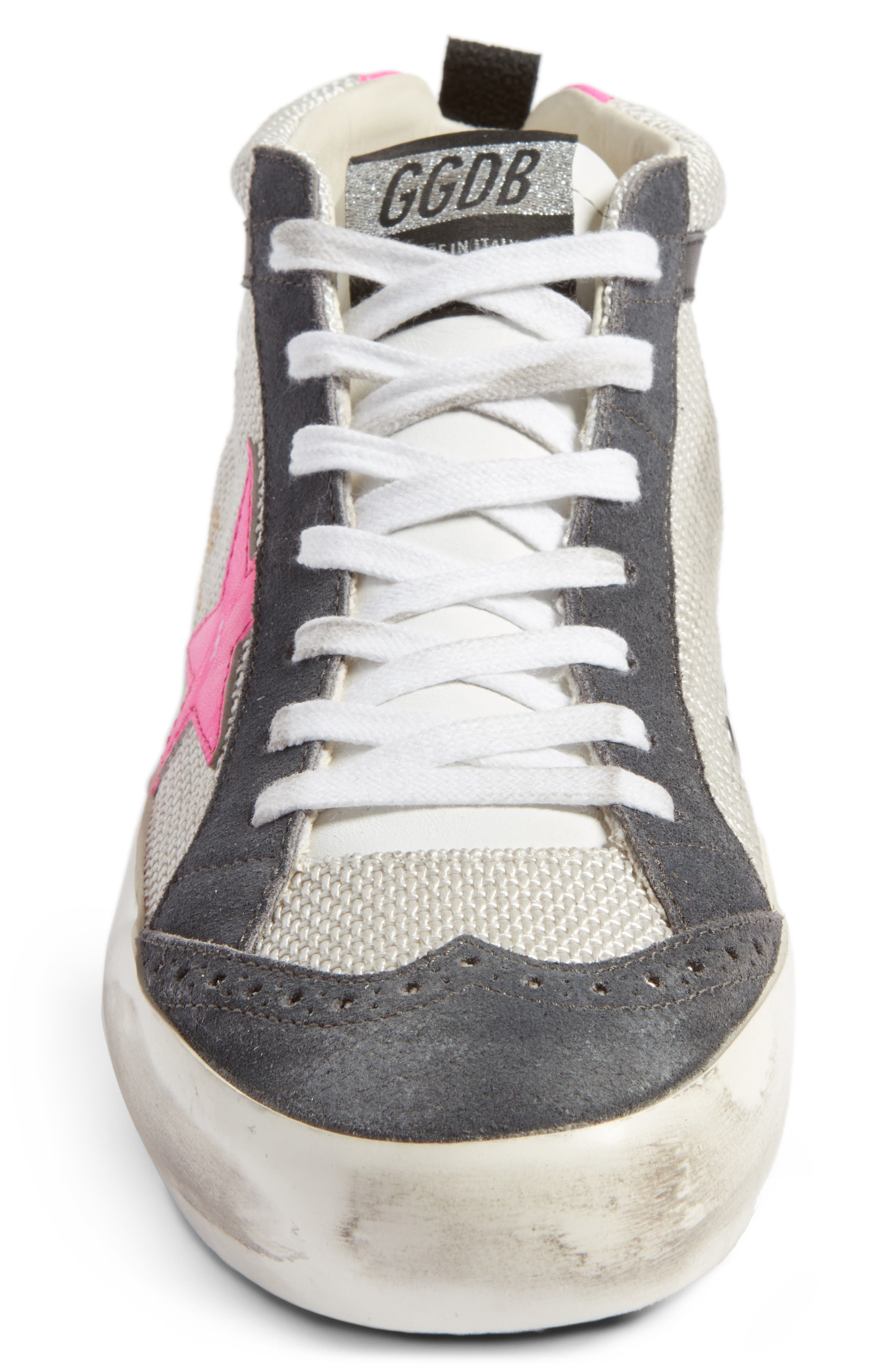 Star Mid Top Sneaker,                             Alternate thumbnail 4, color,                             Grey/ Pink